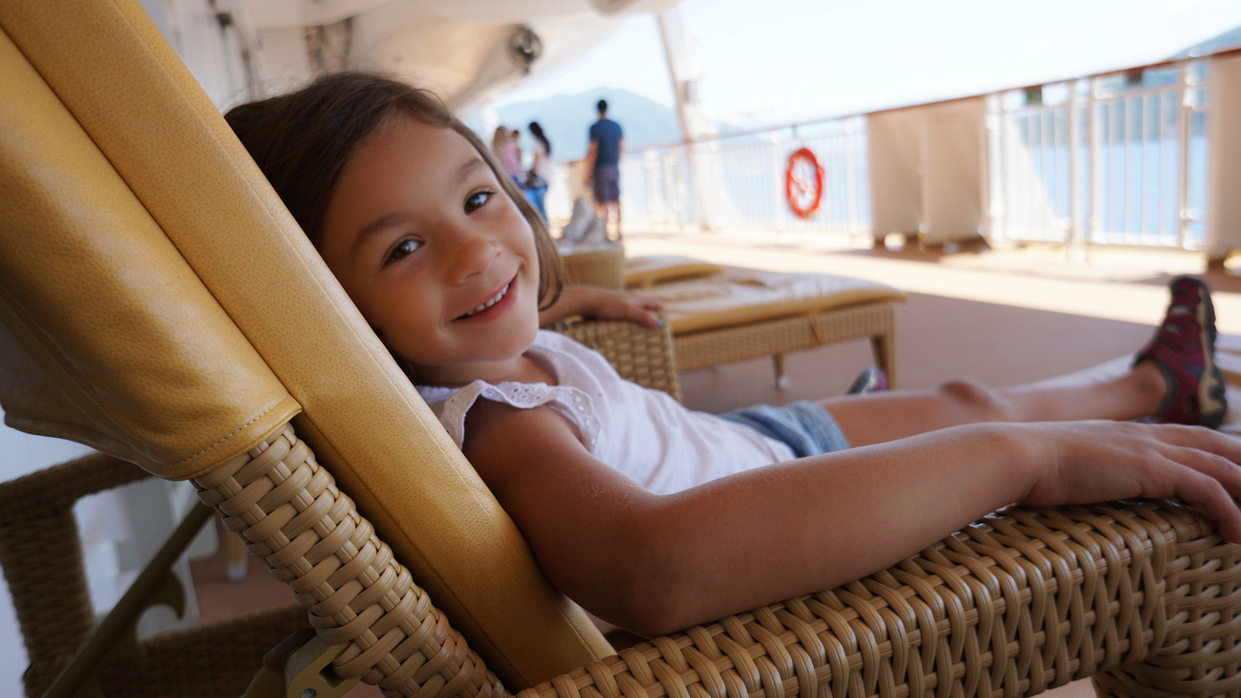 Our niece relaxing on deck