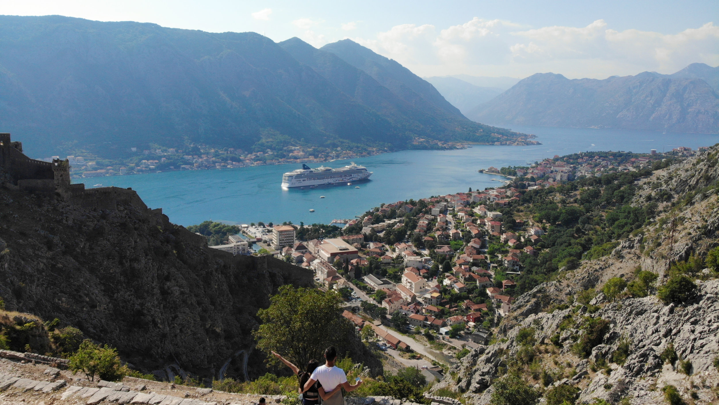 Taking in views of Kotor from up on the trail
