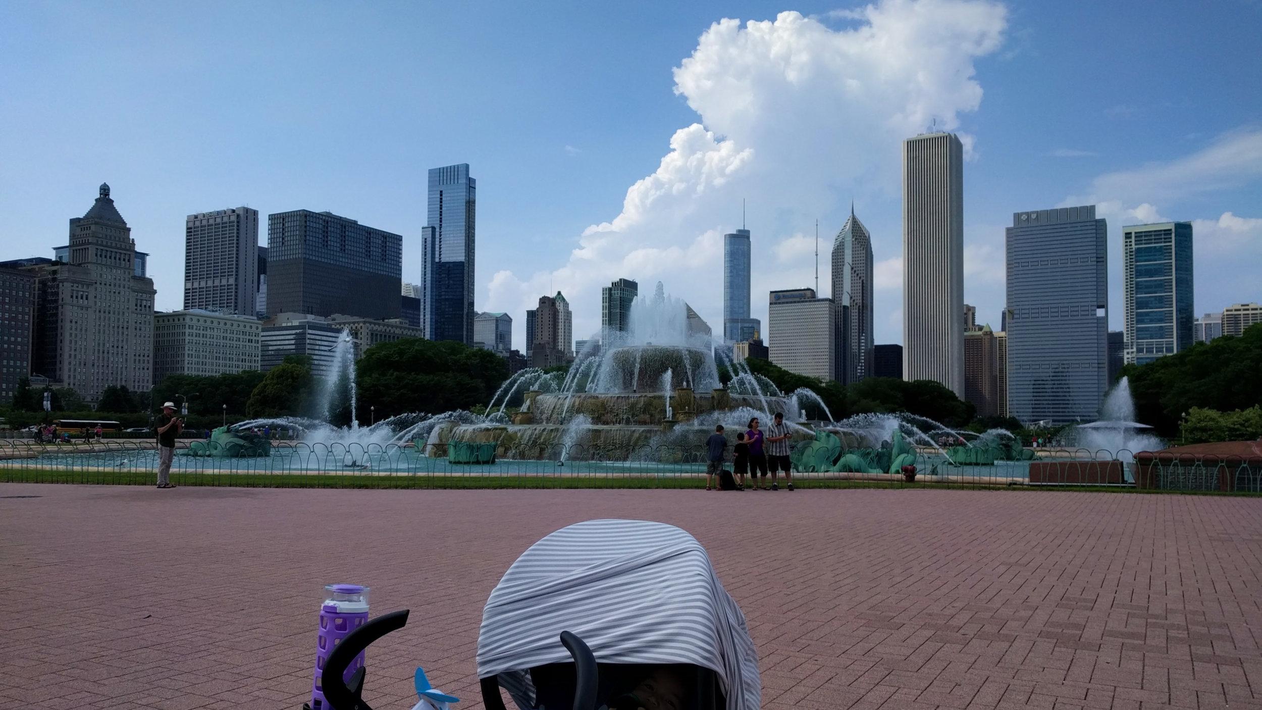 Elden strolling around Grant Park in Chicago, IL at 4 months old