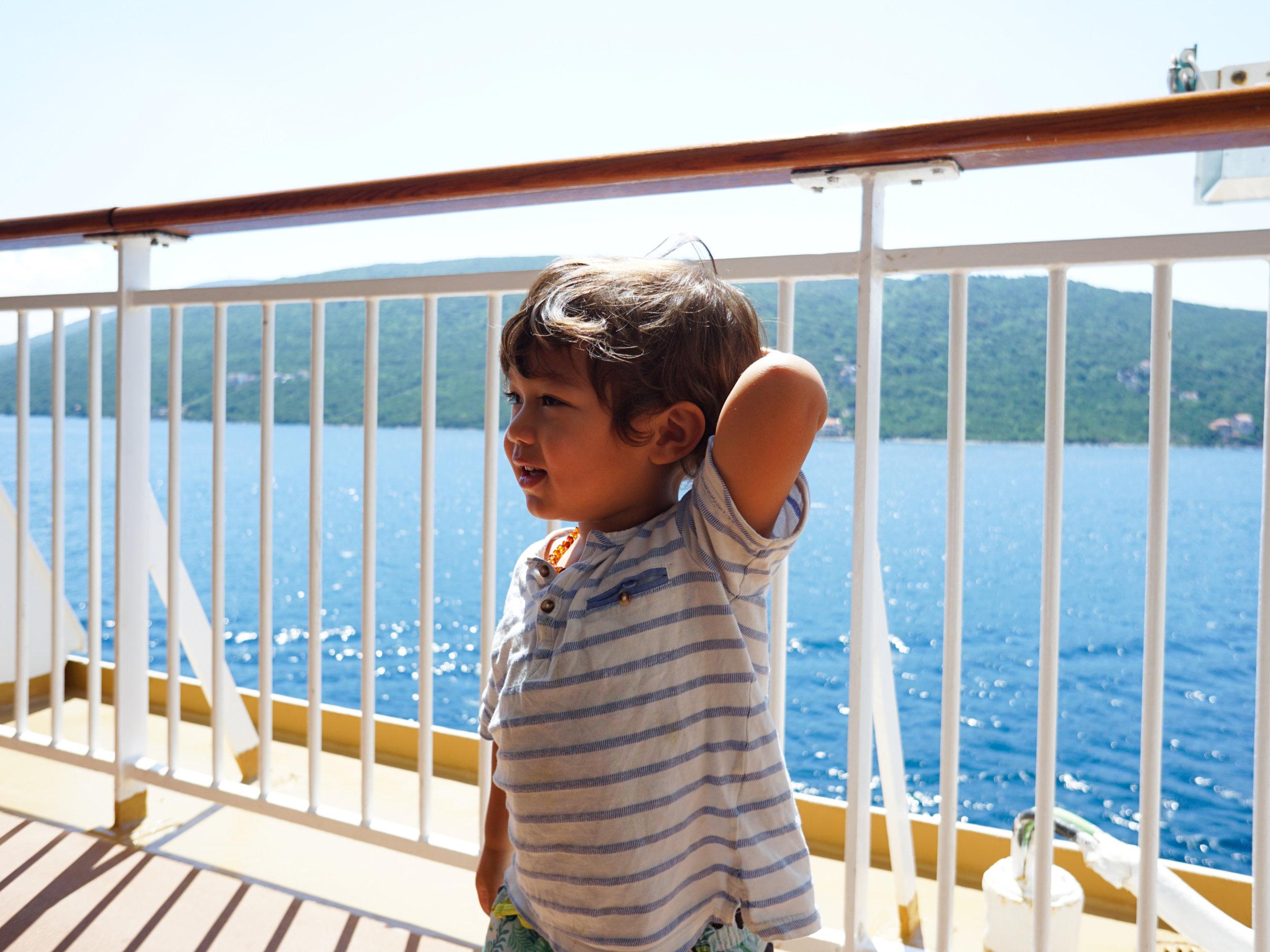 Elden (2.5 years old) on his first cruise around the Mediterranean
