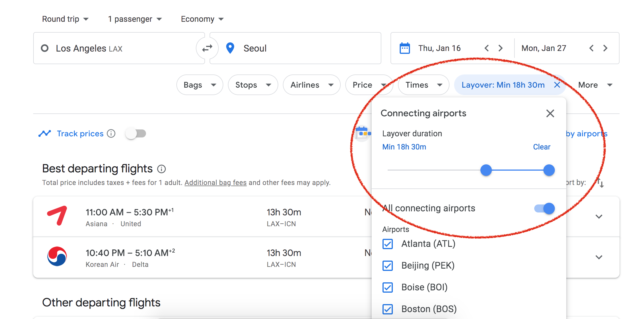 Filtering for a long layover on Google flights