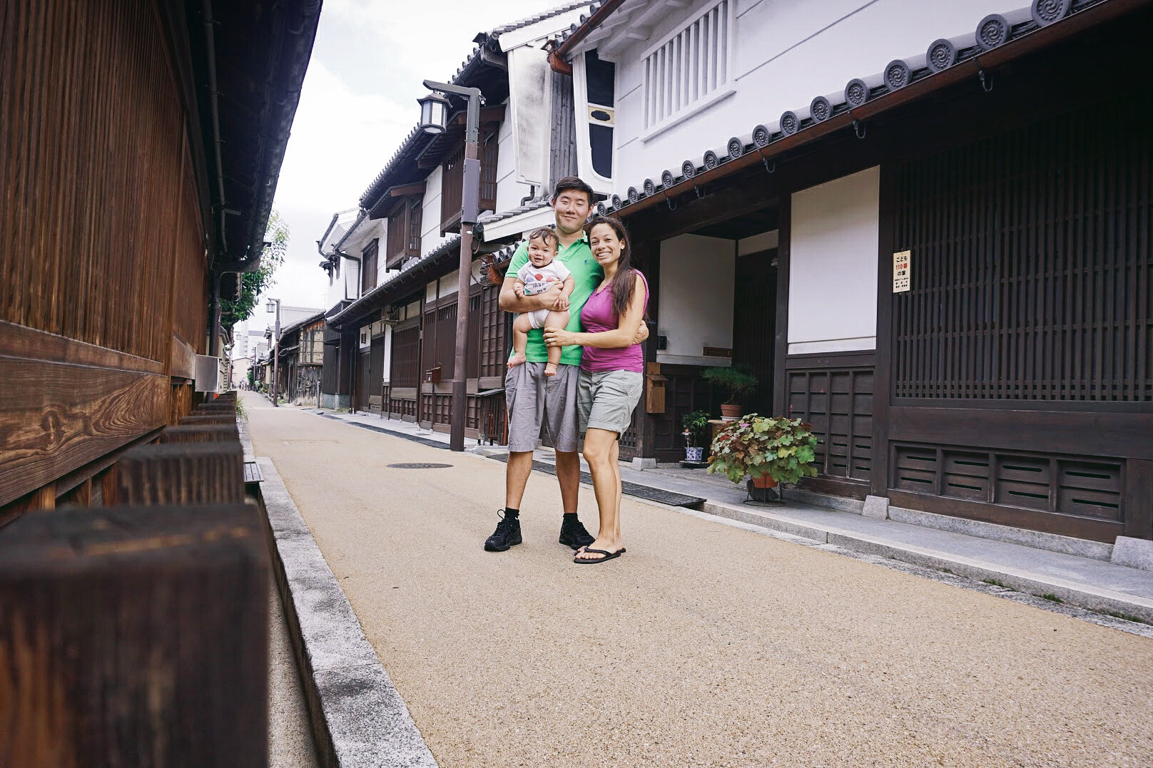 Steve & Jess exploring the Edo period streets of Imaicho with Elden (7 months old)