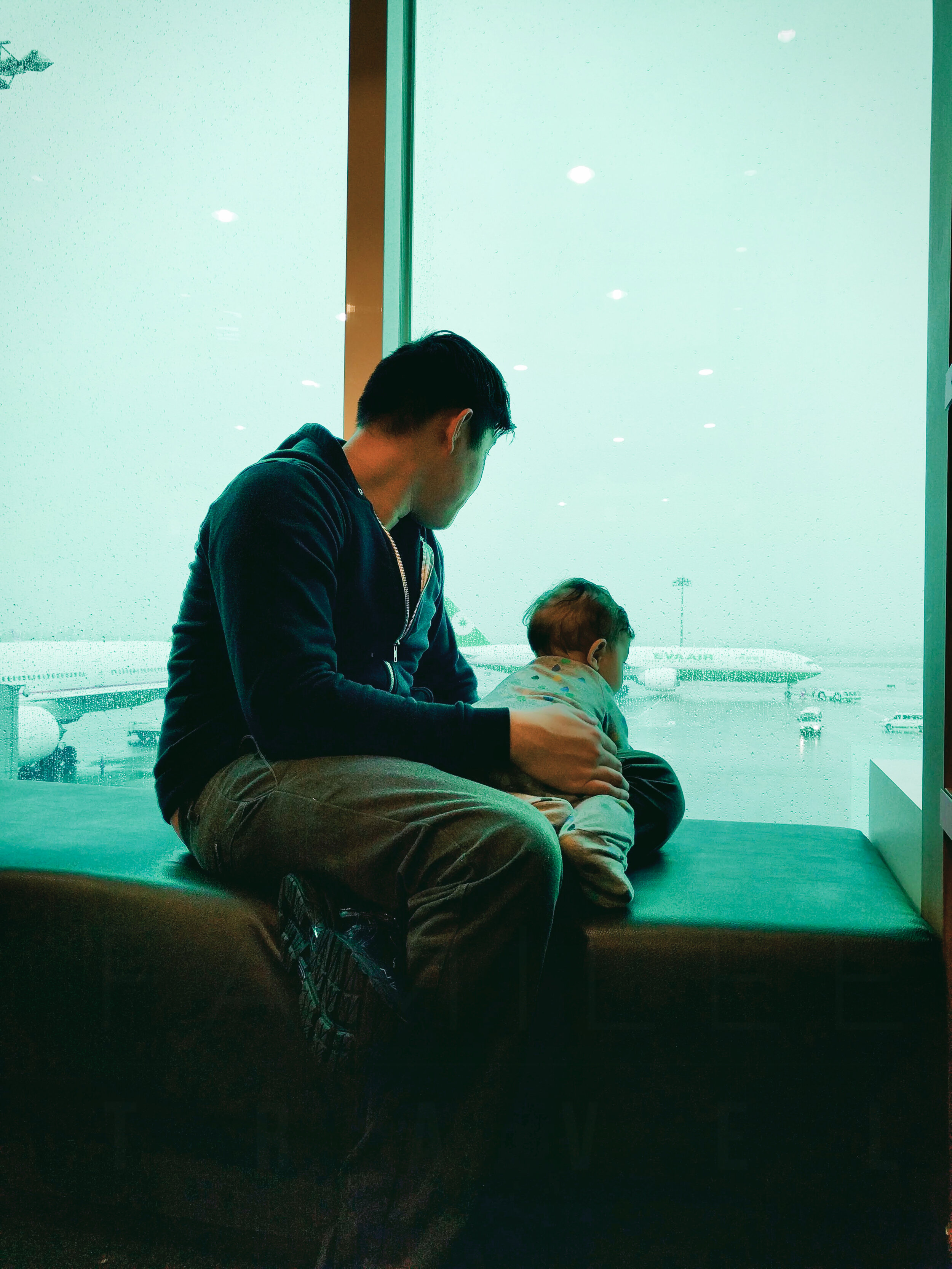Steve and Elden (7 months old) on a layover