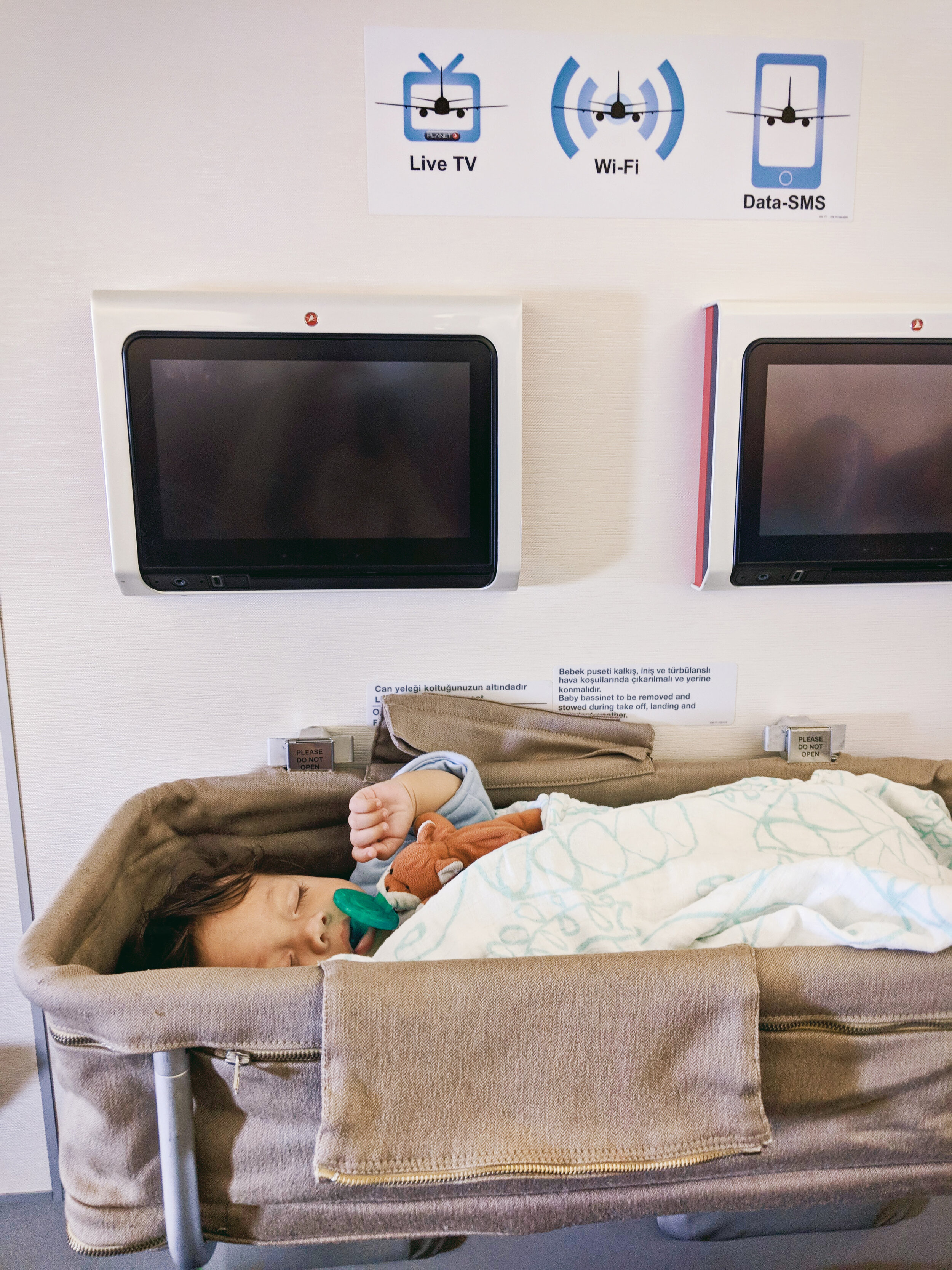 Orlo (6 months old) sleeping in baby bassinet on long-haul flight