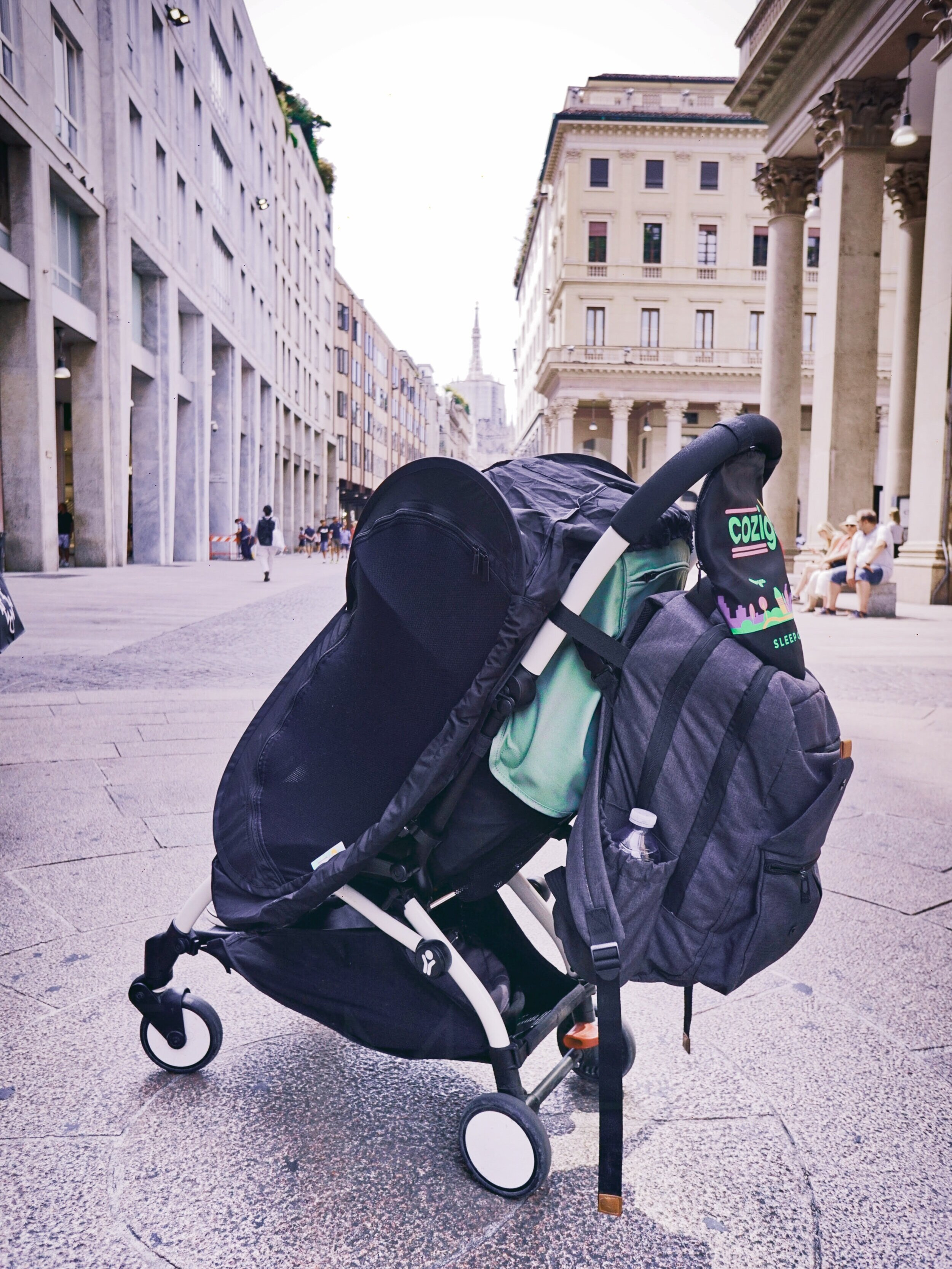 The CoziGo over our Yoyo travel stroller (fits all strollers)