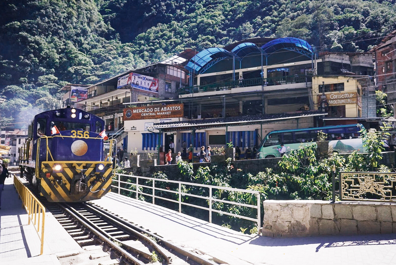 Since trains are the only transportation option in and out of Aguas Calientes, they're central to the town. Tracks run right through the middle of everything.