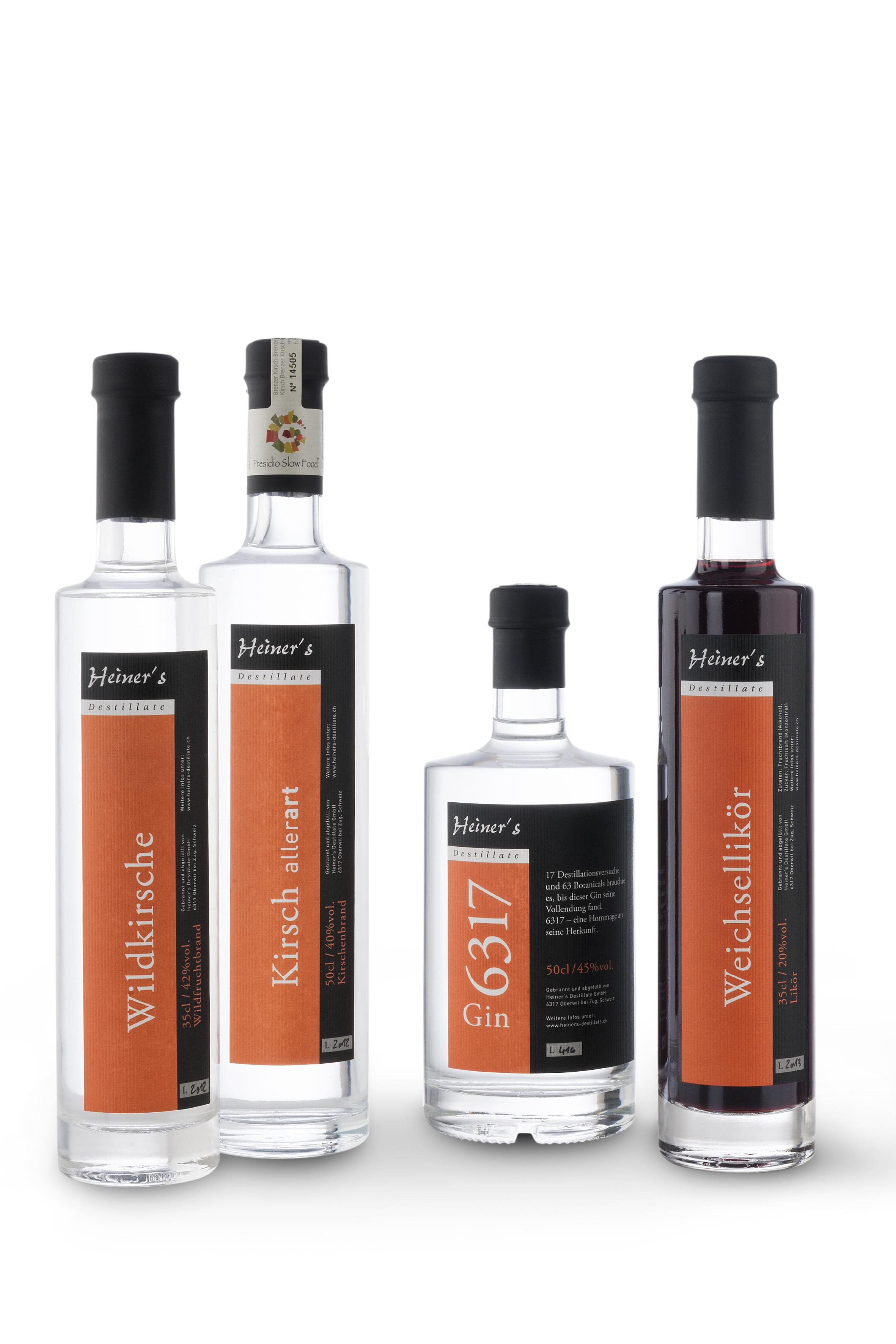 Heiner's Destillate - in 3,5 dl oder 5 dl Flaschen abgefülltes Glück mit Früchten aus der Region.