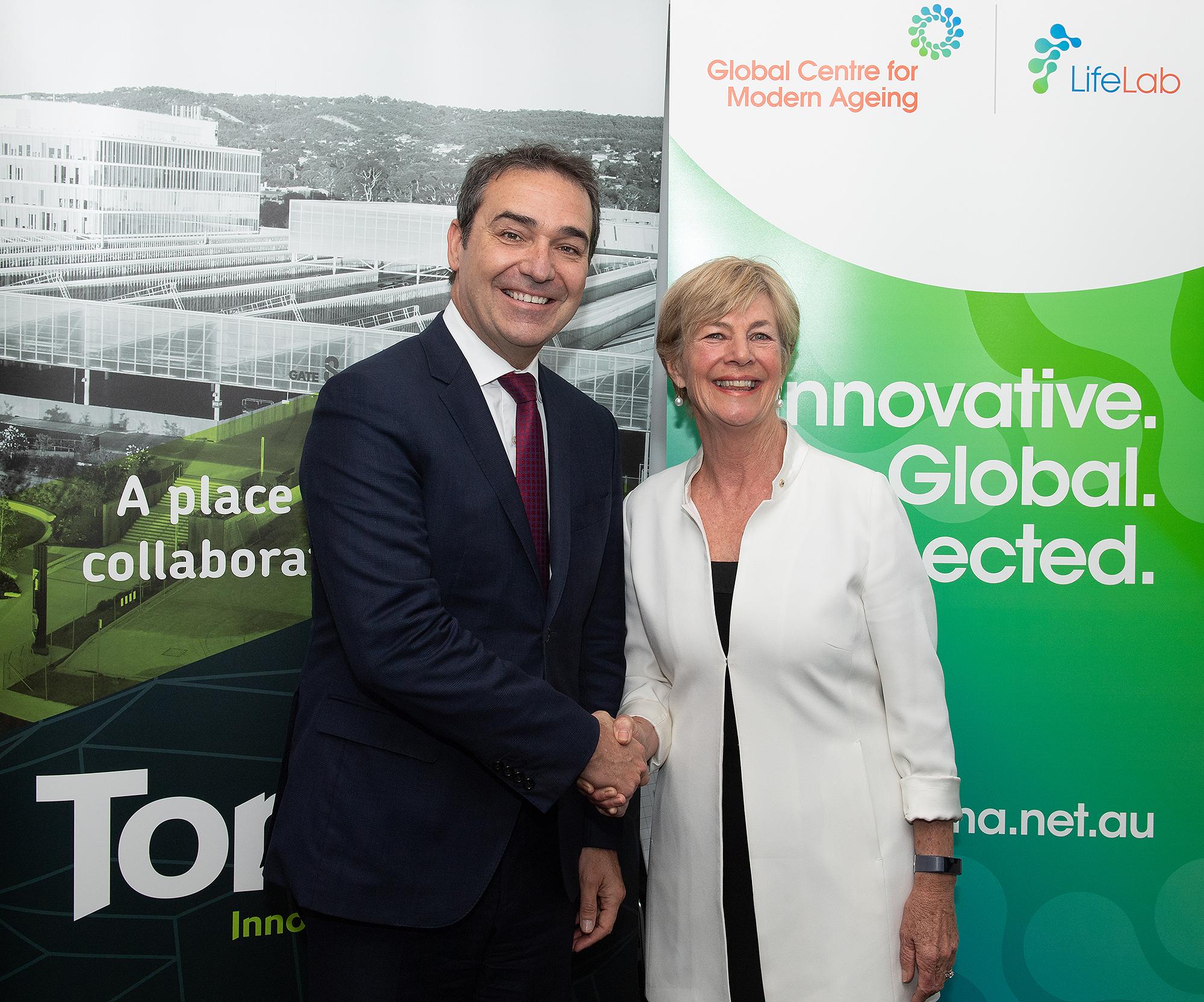 South Australian Premier Steven Marshall and Global Centre for Modern Ageing deputy chair Anne Skipper.