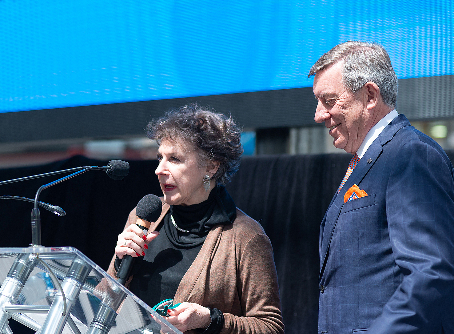 Editor-in-chief of Better Homes and Gardens Julia Zaetta with Global Centre for Modern Ageing chair Raymond Spencer.