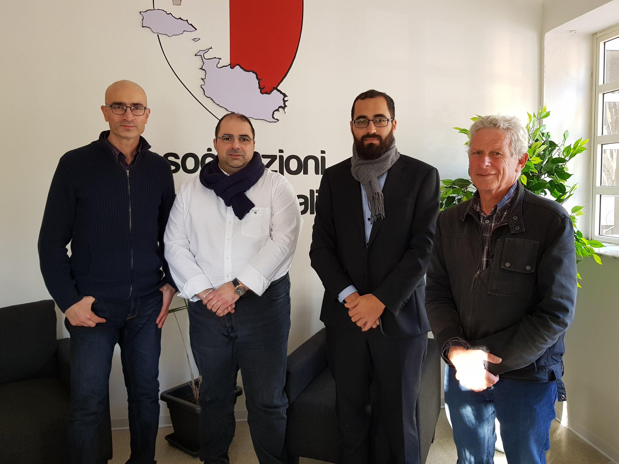 From left to right:    Ing. Joe Gatt (BAG Secretary), Mario Fava (LCA President), Matthew Farrugia (BAG Treasurer) and Michael Rosner (BAG Vice-president)