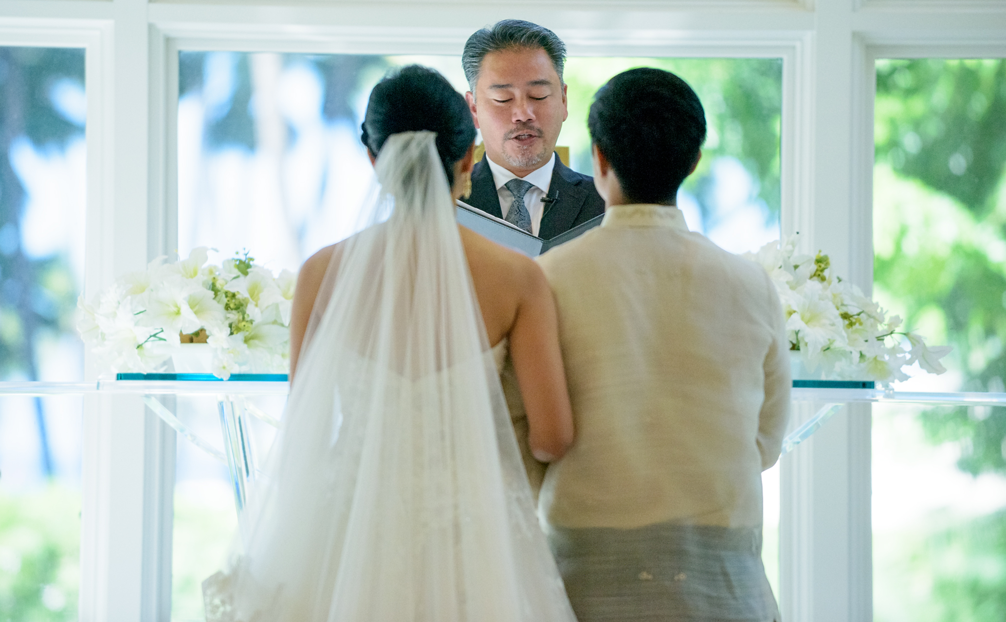 Wedding ceremony at Akala Chapel at Hilton Hawaiian Village