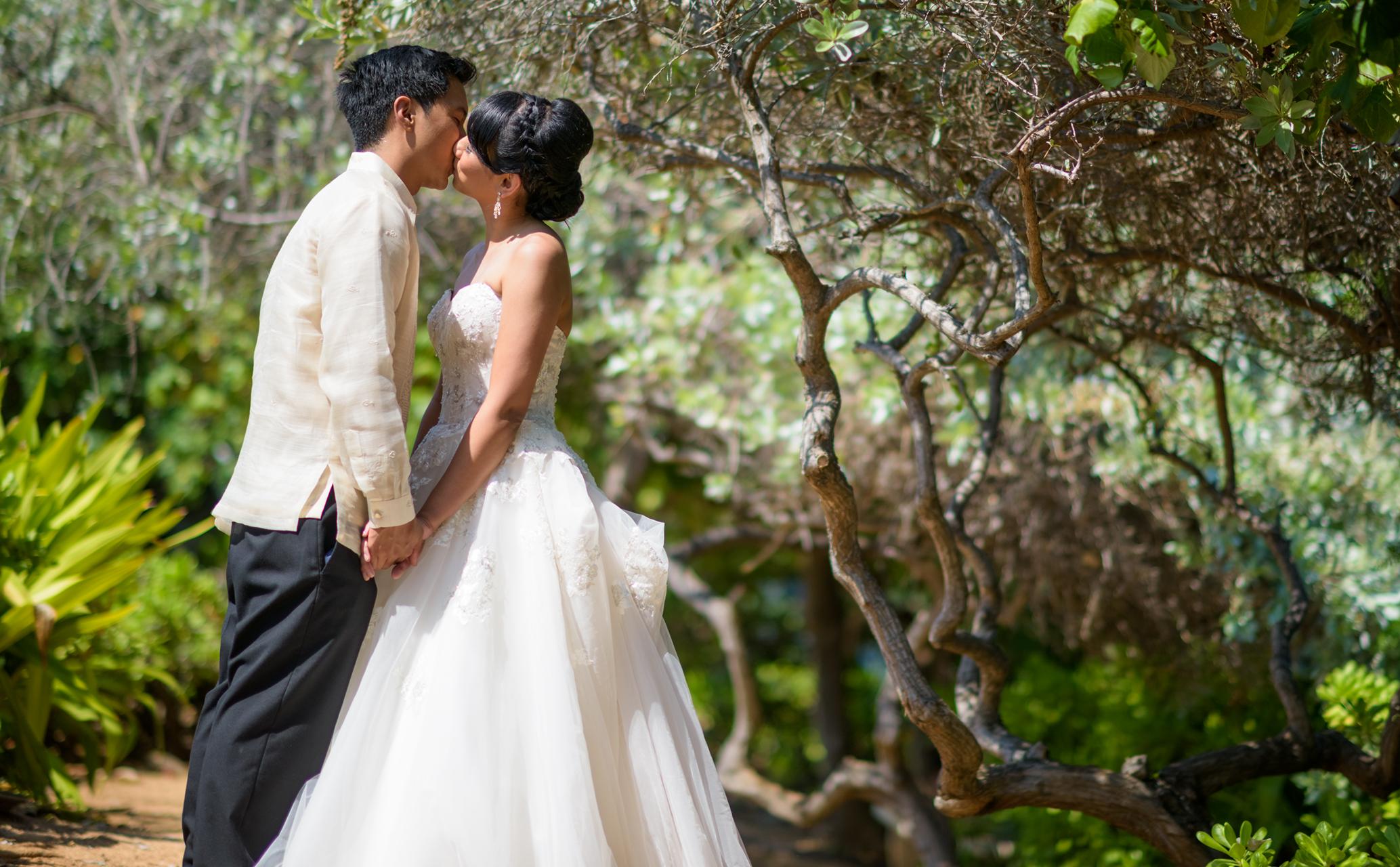 Bride and groom at The Kahala Hawaii