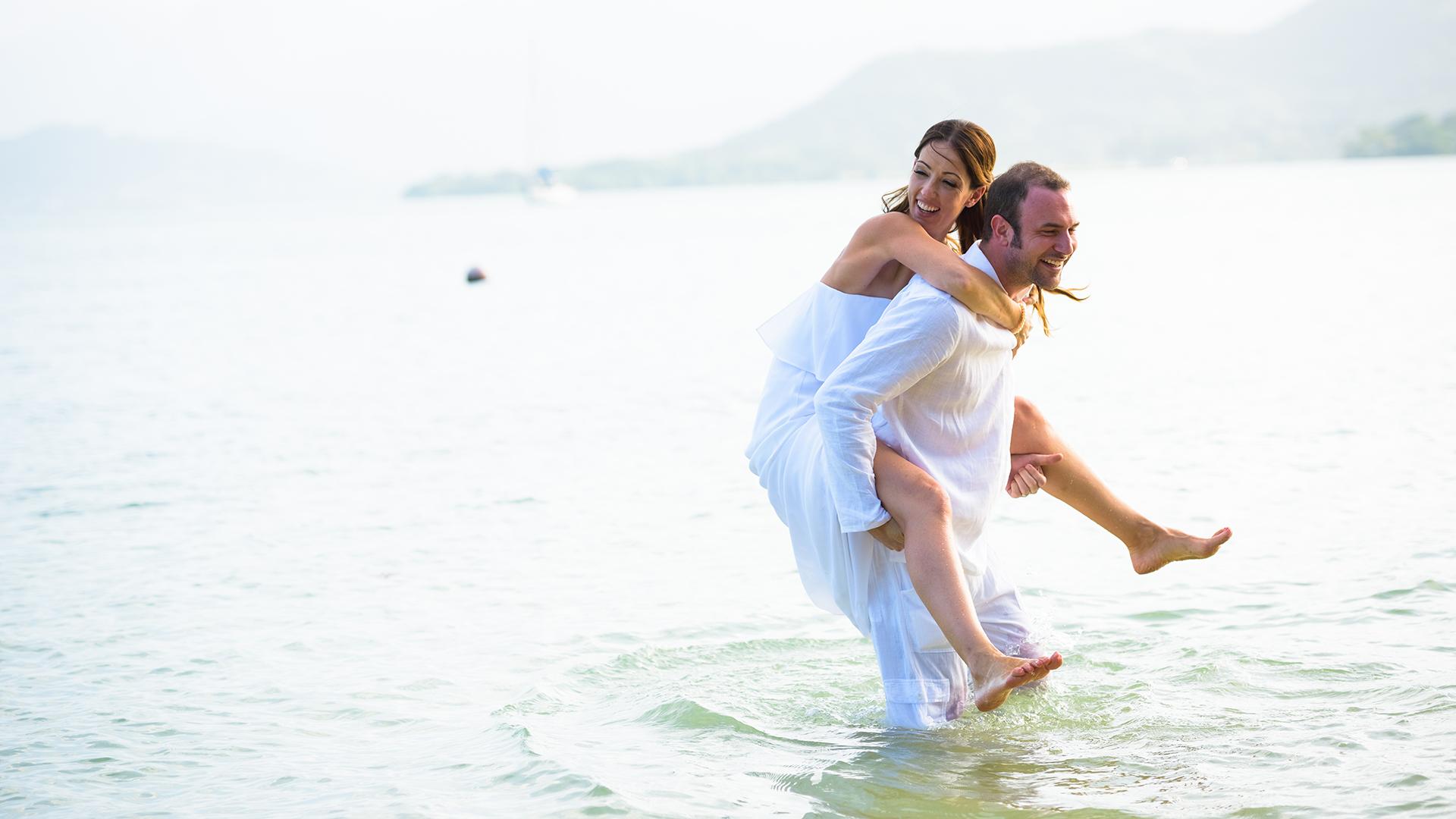 An intimate destination wedding at Kualoa Ranch Secret Island, Hawaii.