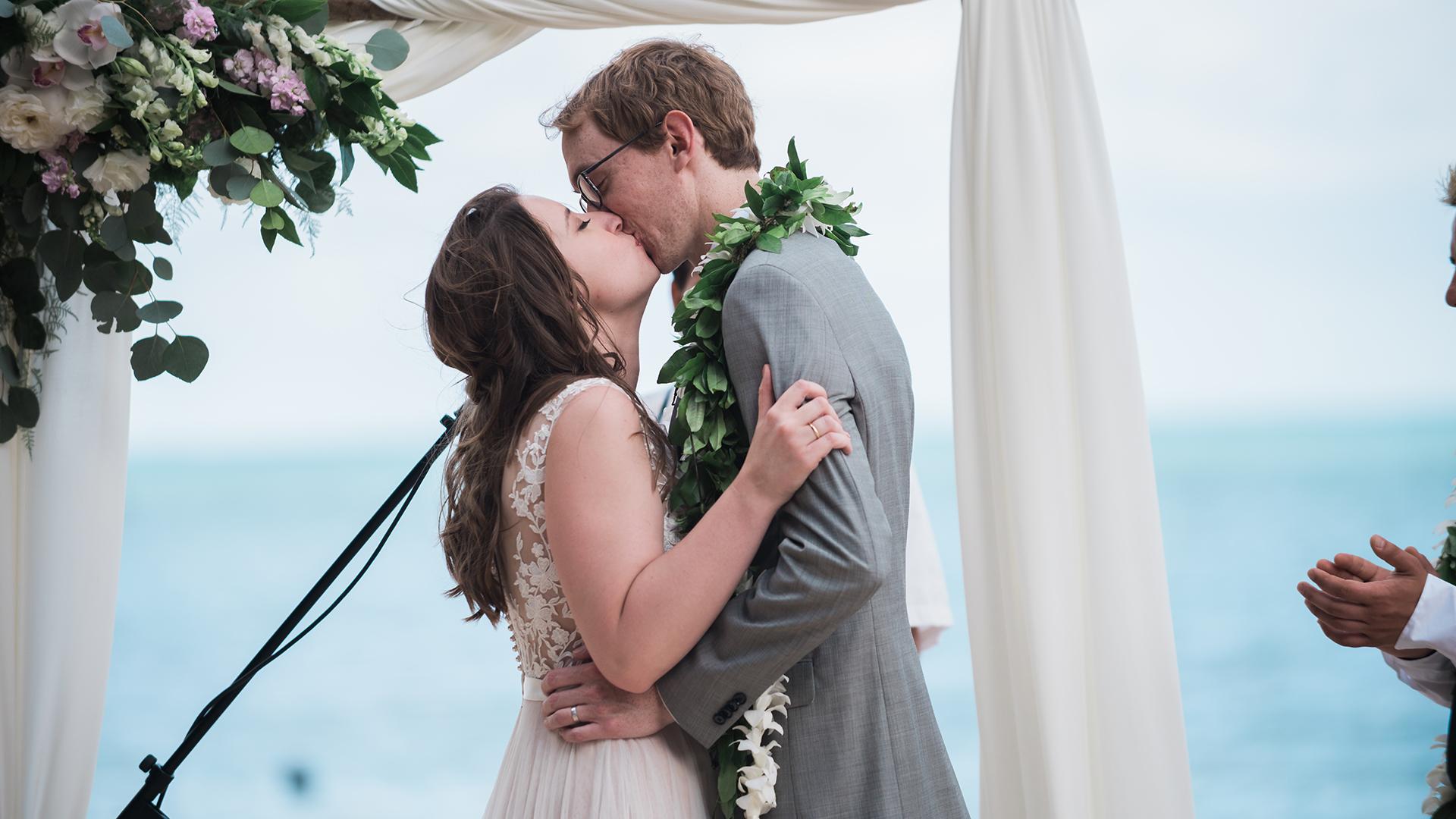 A destination wedding at Kualoa Ranch Secret Island, Hawaii.