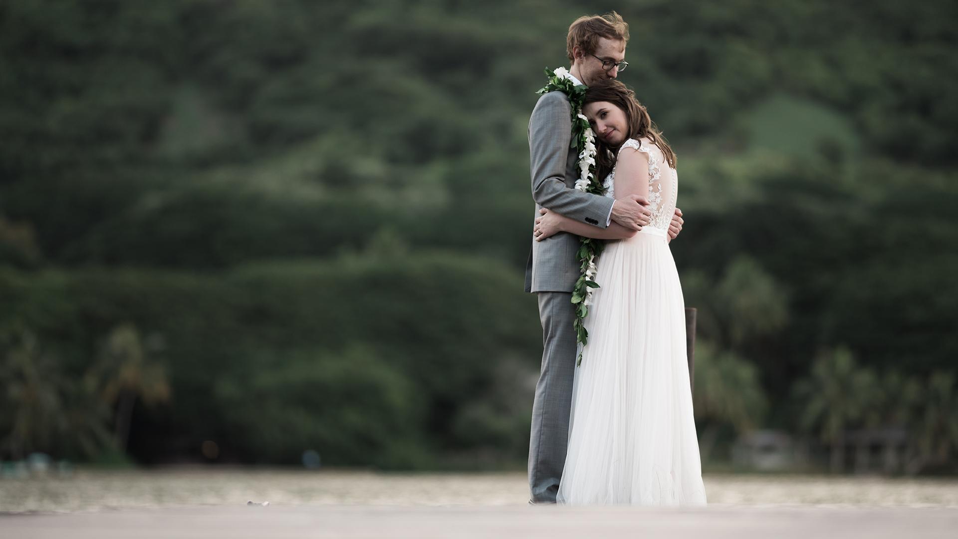 Destination wedding at Kualoa Ranch Hale Nanea, Hawaii.