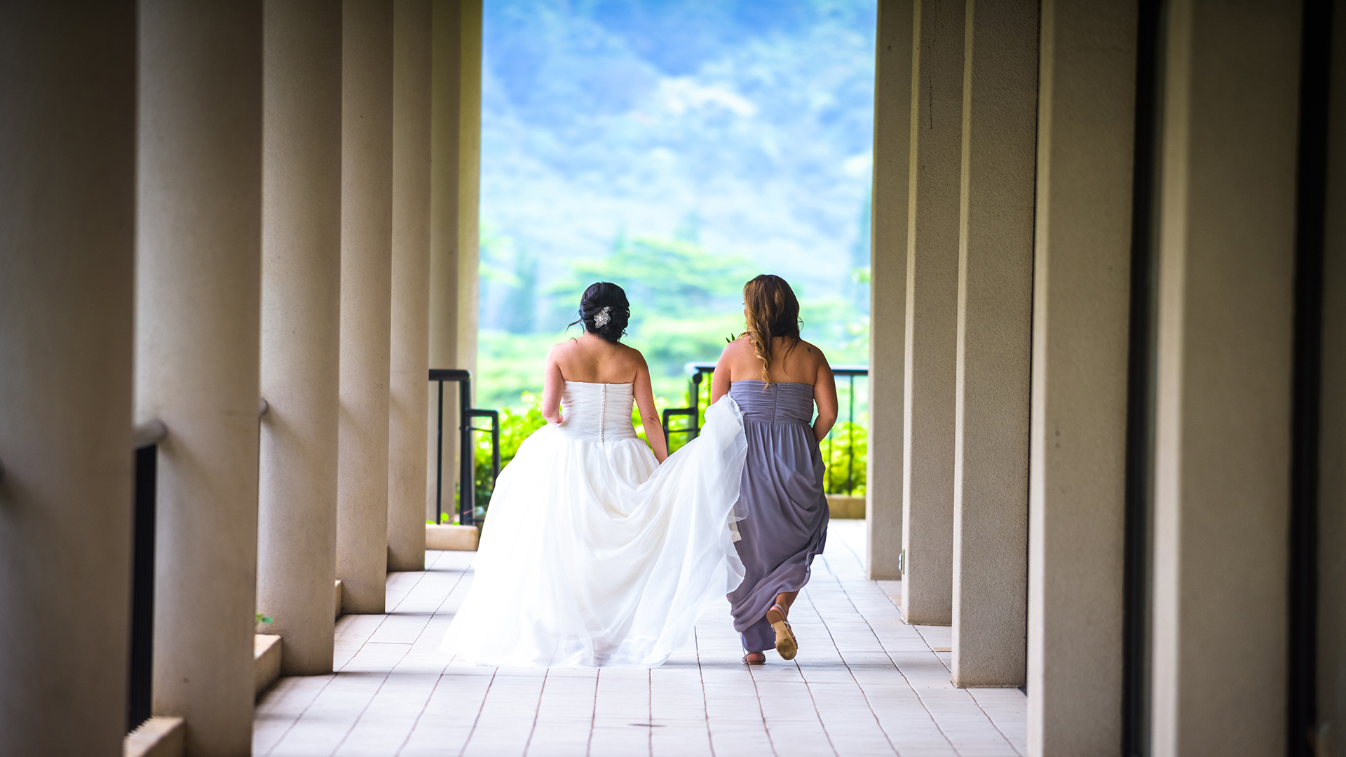 Bride is about to have a moment during a 1st look with her future husband at the Koolau Ballrooms Outdoor Garden in Hawaii.