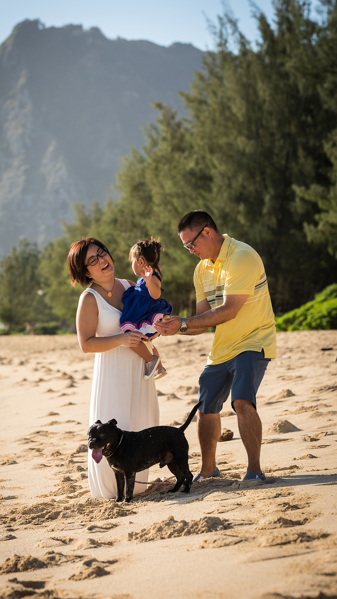 Family portraits at Sherwood forest in Waimanalo, Hawaii.