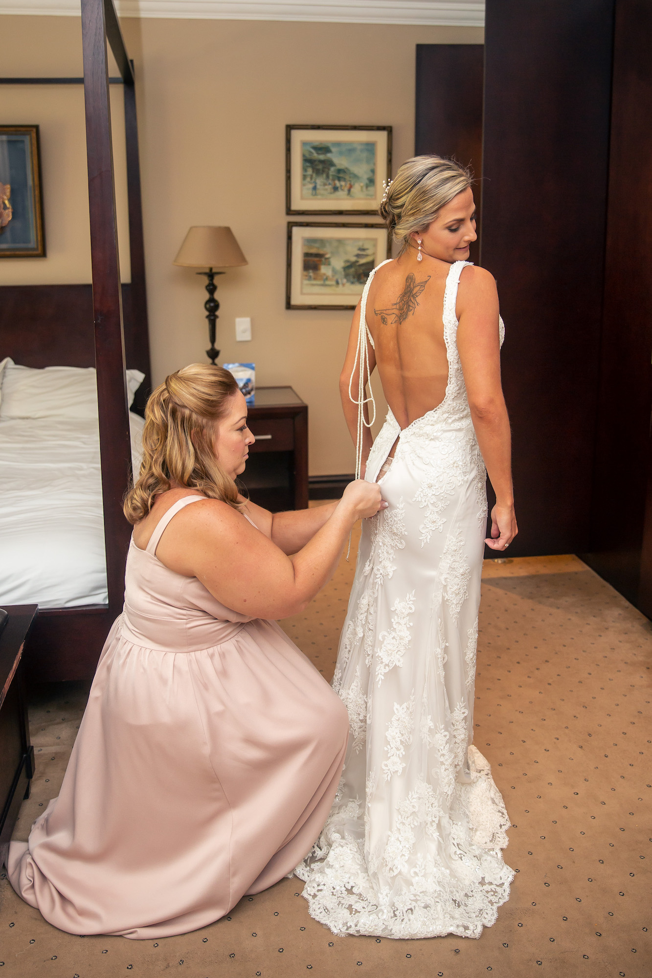 bride getting dressed