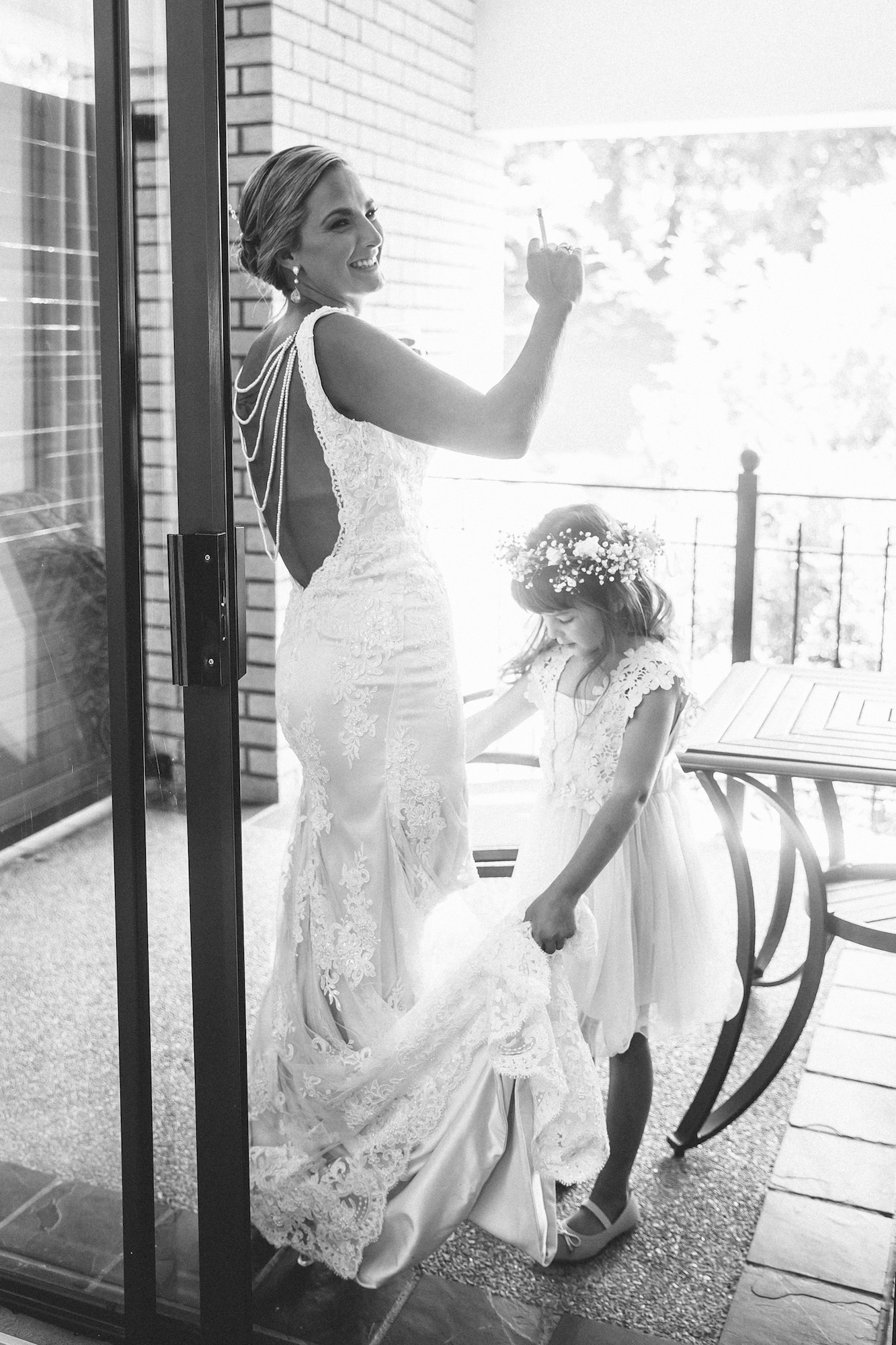 bride smoking b&w