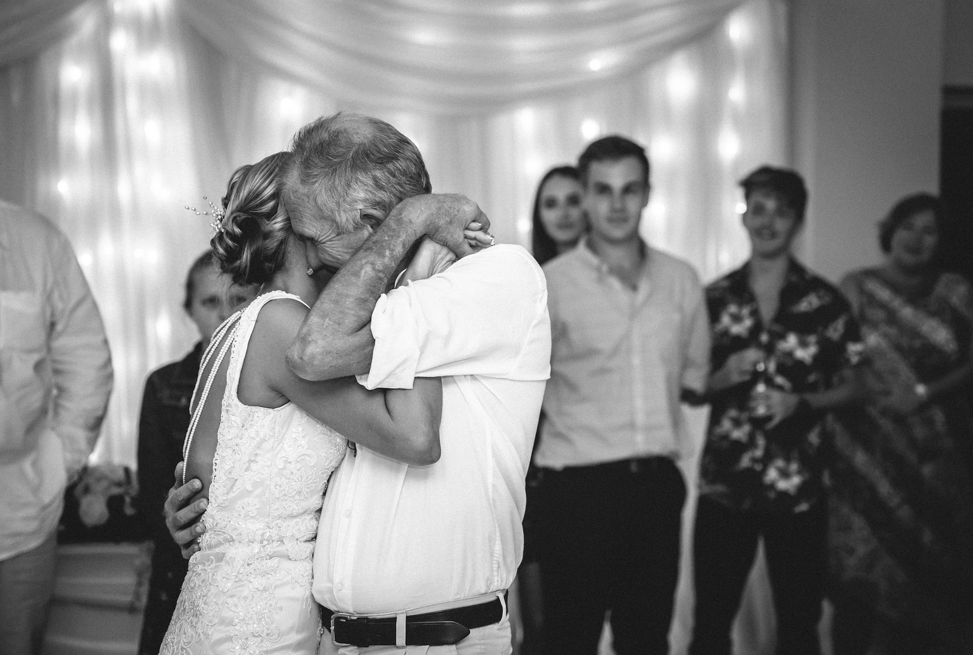 father and daughter dance b&w