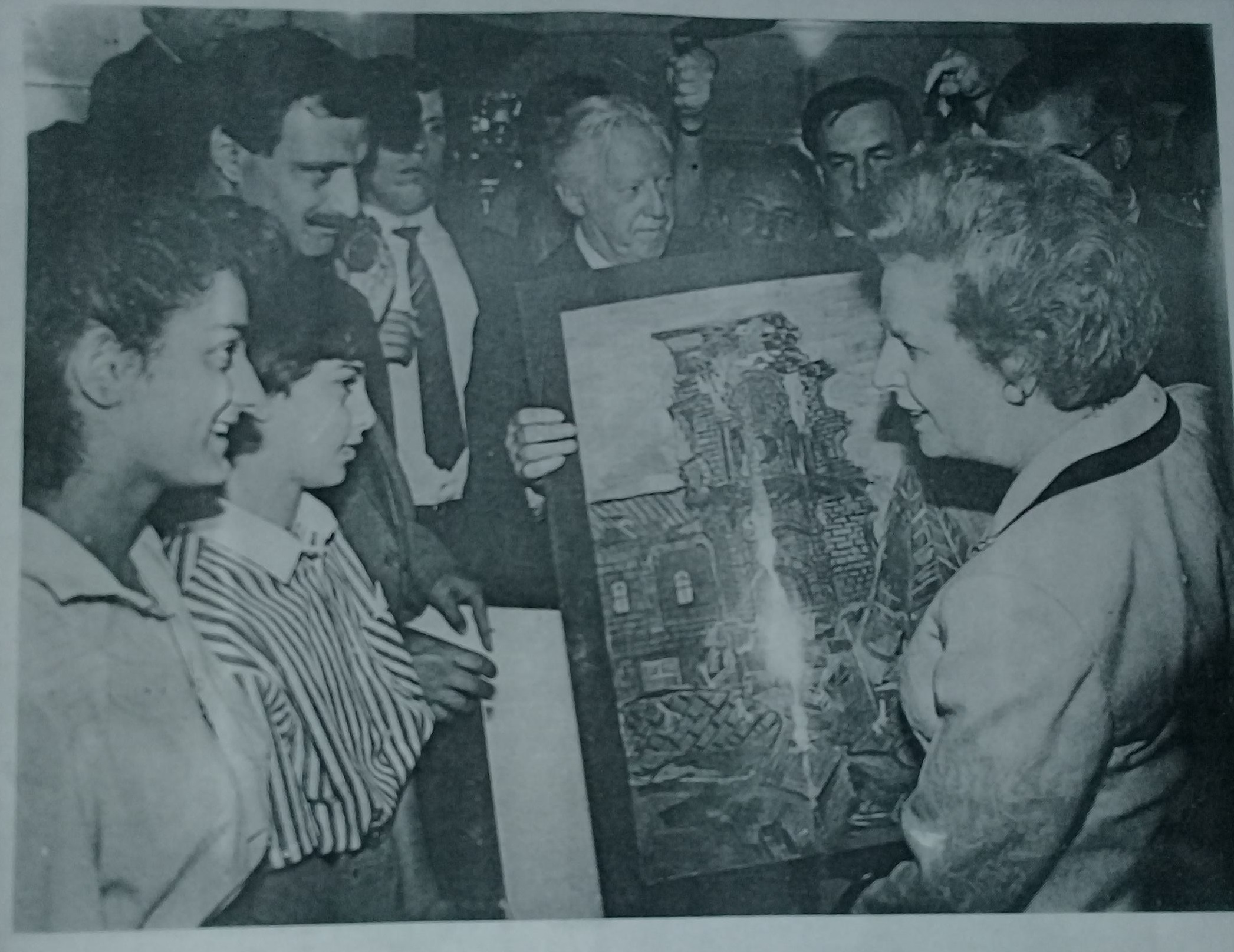 Prime Minister Margaret Thatcher talking with students affected by the 1988 Armenian earthquake.