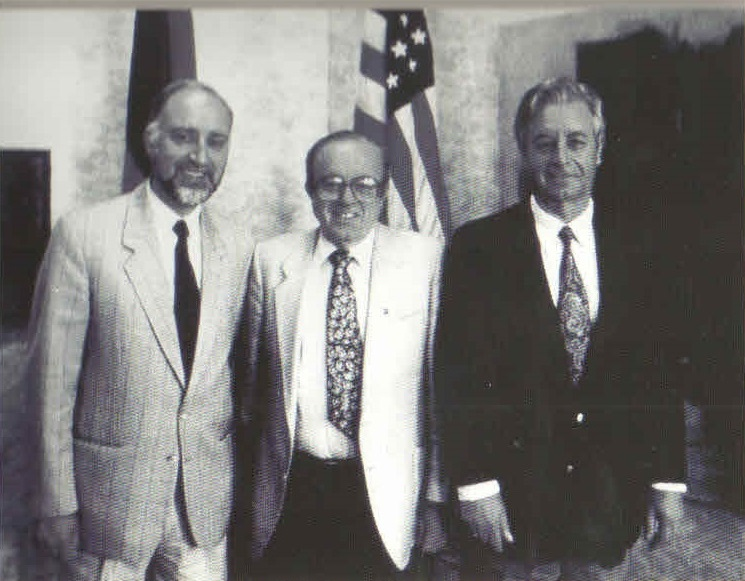 The founders of the American University of Armenia: (from left) Armen Der Kiureghian, Mihran Agbabian, and Stepan Karamardian.