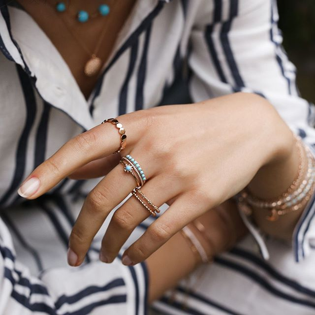 THE ULTIMATE GEMSTONE - In love with summer? Mix & Match beautifully bold turquoise rings for a stylish statement.