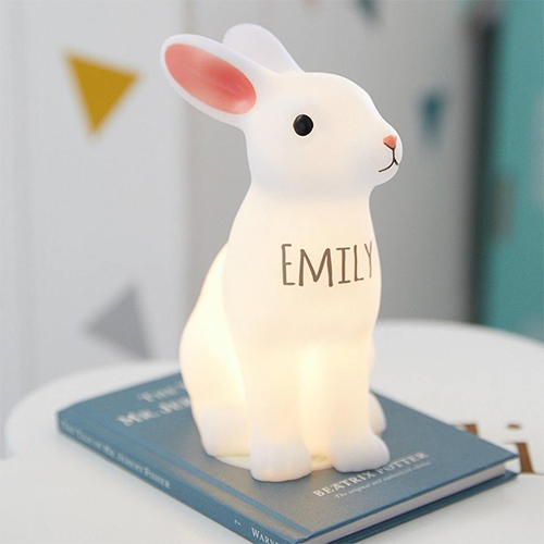 Personalised Bunny Night Light - A very cute character light in an angelic white to keep your little angels content while they sleep. This would make the perfect addition to a child's room or nursery and can be personalised for free with a name of your choosing for an extra special touch.