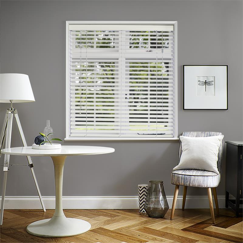 DISCOUNTED PREMIER 50MM EMBOSSED COTTON WHITE FAUX WOOD FROM DIRECT BLINDS UK