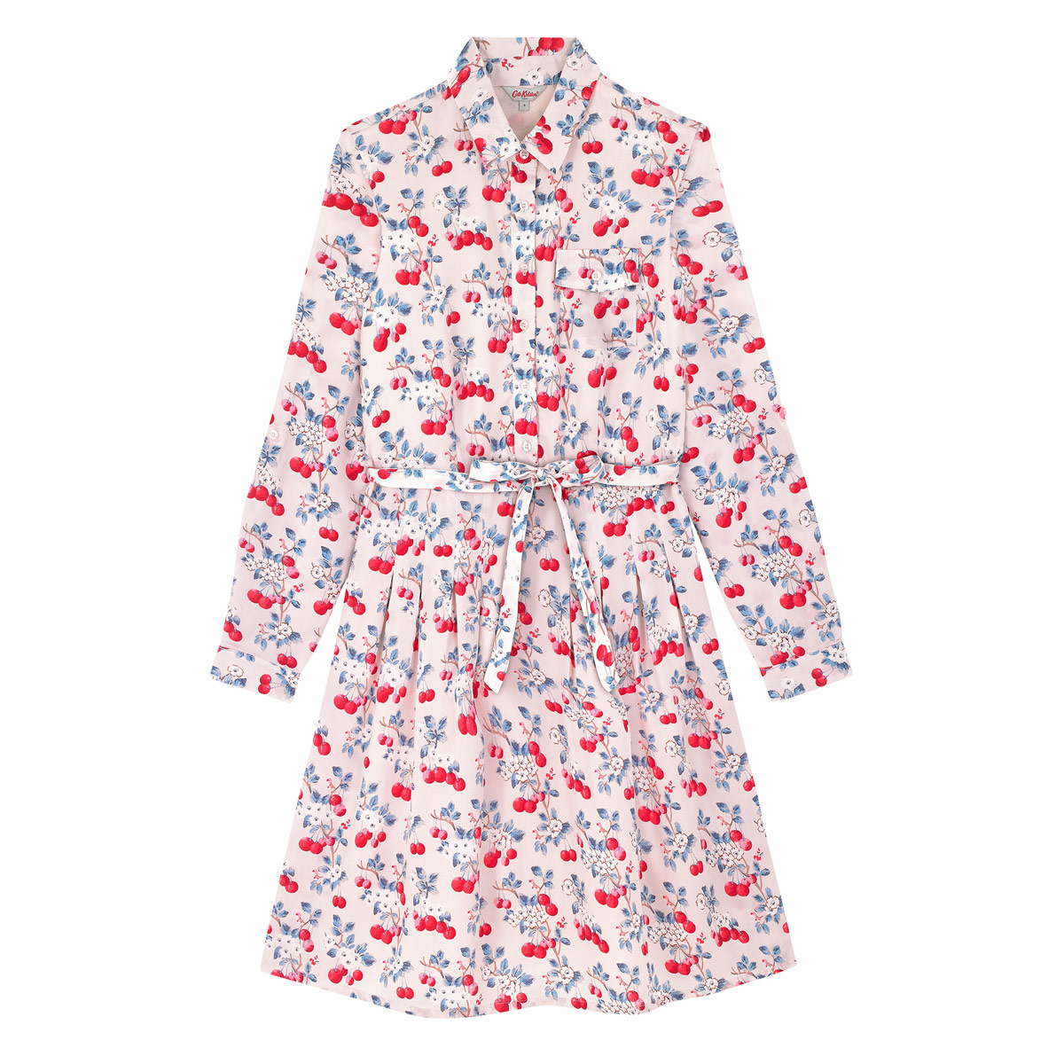 CHERRY SPRIG SHIRT DRESS - This sweet dress is printed with Cath Kidston fresh and fruity Cherry Sprig design. The shirt style bodice has a button front, neat little collar, breast pocket and long cuffed sleeves, and the gathered waist flares into a pleated skirt.
