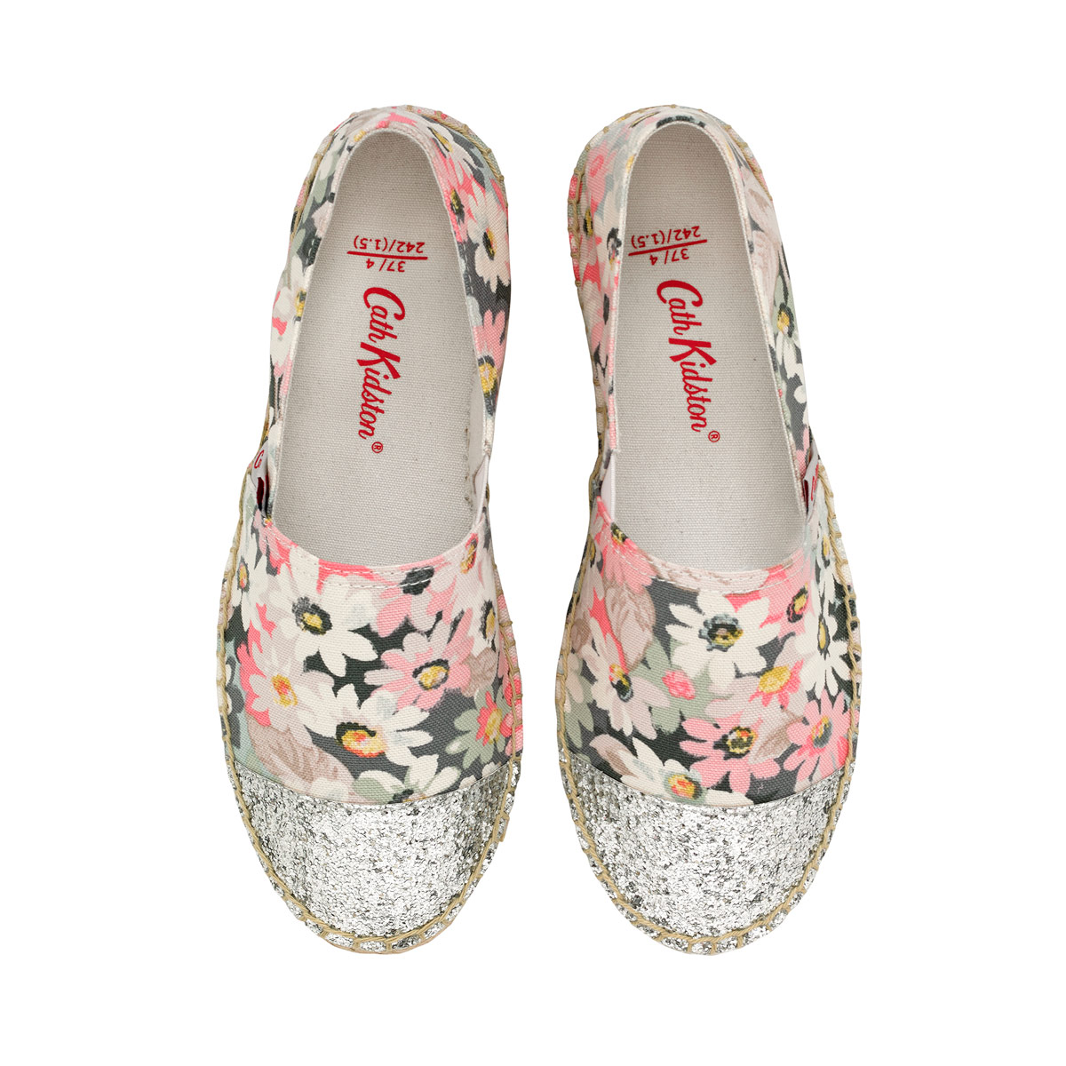 Lollies pocket purse now £19.20 - Treat your feet to classic espadrilles with added sparkle this season. Made from Painted Daisy cotton canvas with little elastic inserts that make them easy to slip on and off, these espadrilles rely on traditional padded rope sole and silver glitter toe for your ultimate comfort and style.