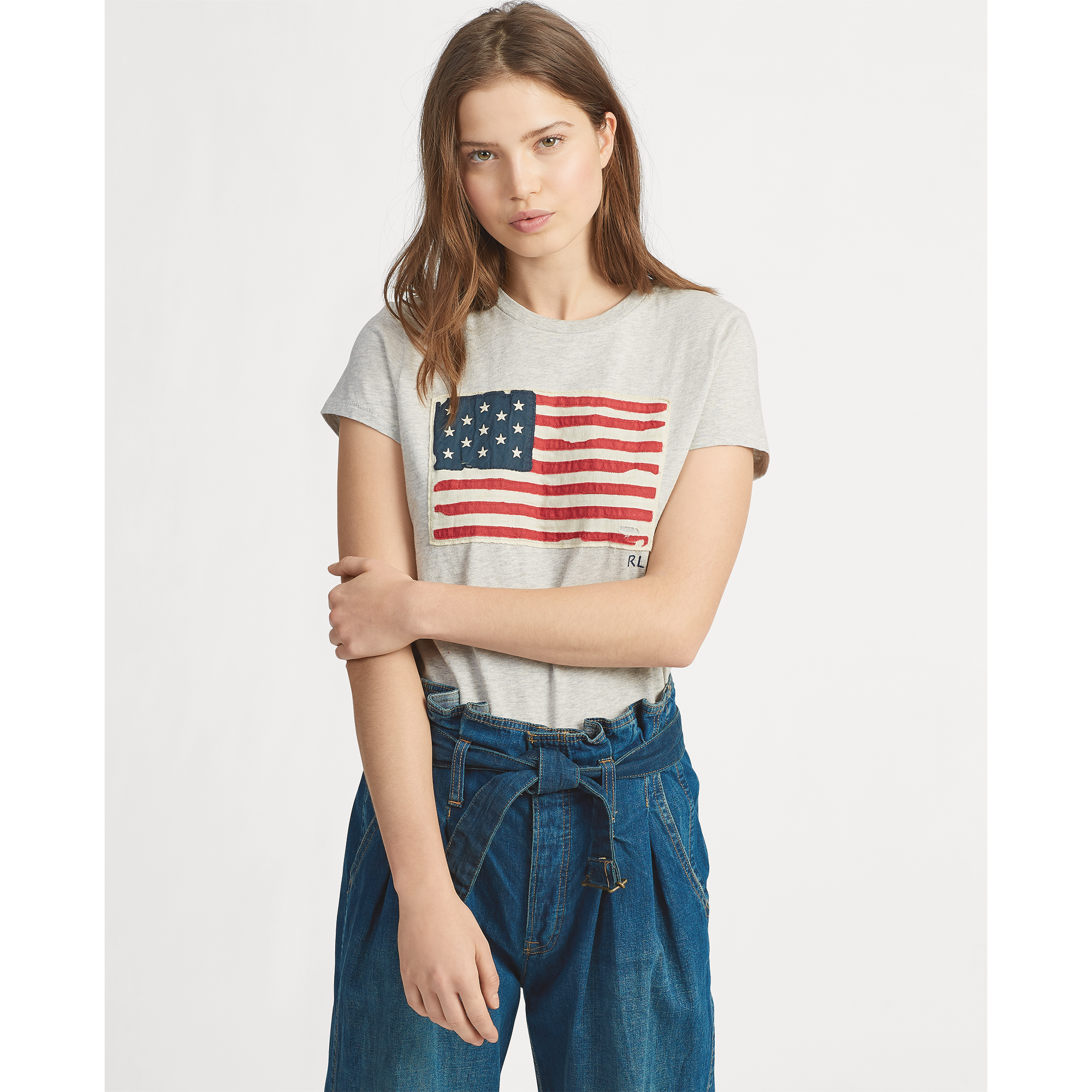 flag cotton tee - This soft cotton T-shirt embroidered with the USA flag and initials embodies Mr. Lauren's long-standing love of all-American style and is now available in the Ralph Lauren sale for£47.20. Stock is limited.