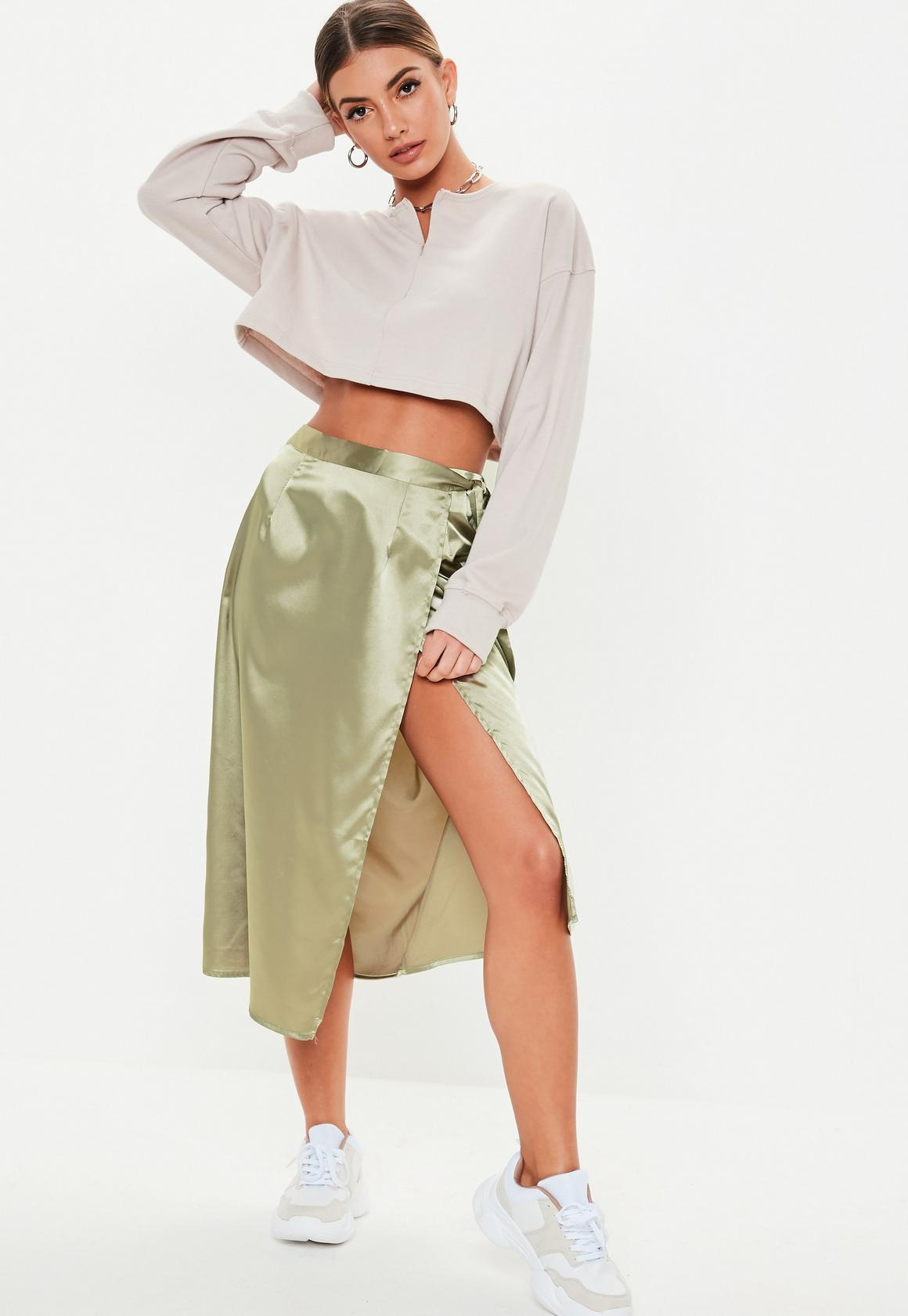 khaki satin wrap midi slip skirt - A midi skirt in khaki satin finish featuring a wrap front design and side tie belt fastening now priced at £12.50.