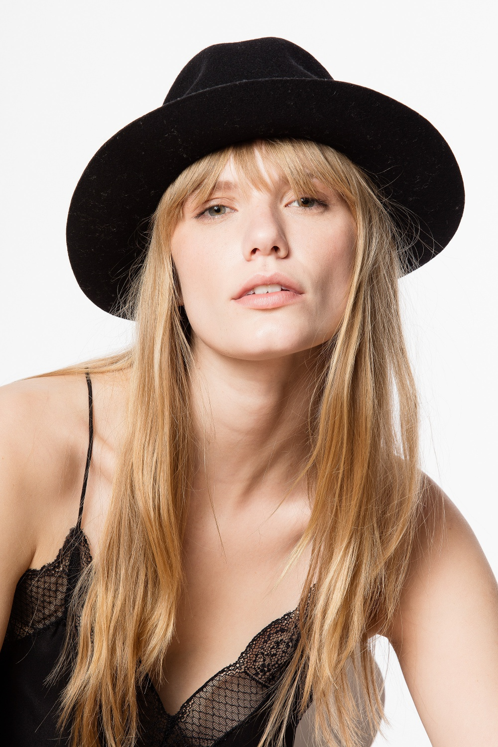 great gift - Zadig & Voltaire women's black wool felt hat with ribbon and ZV rivet, made in Italy. Basically, just the right gift no matter what the occasion! Now available in the sale.