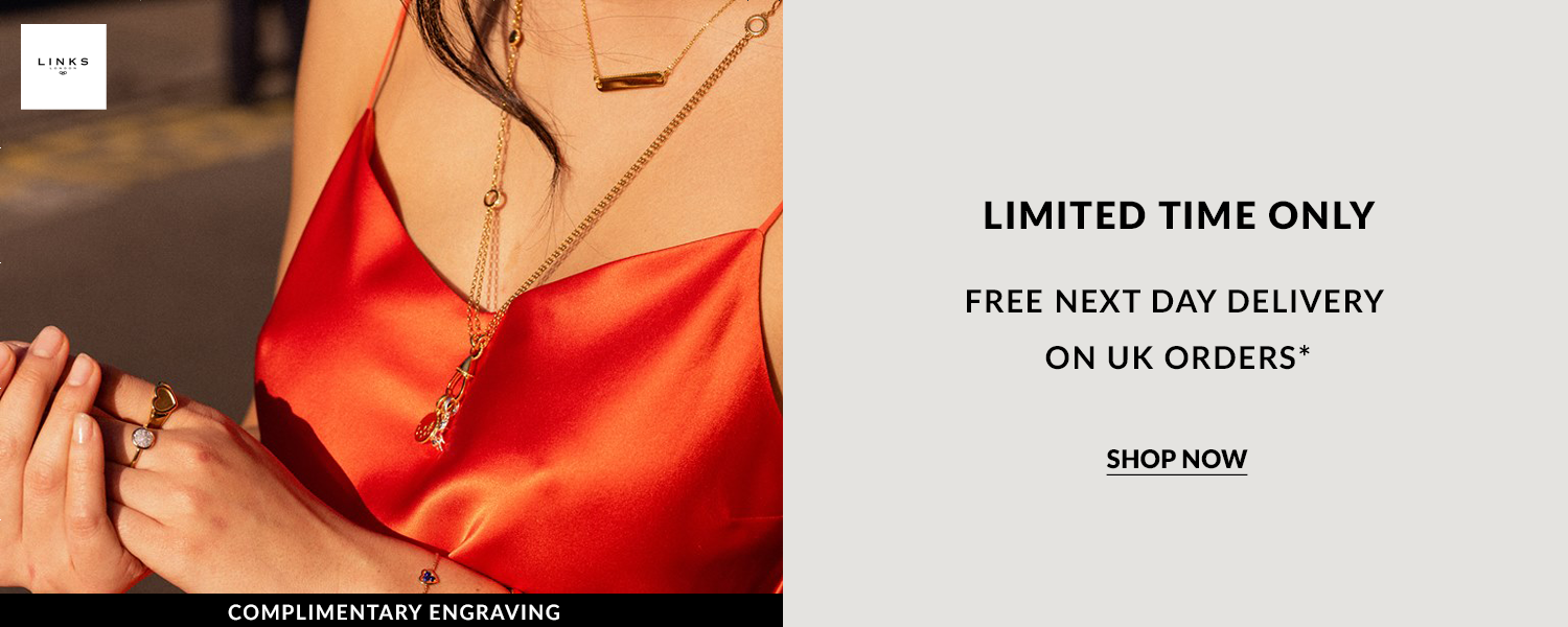 Links of london free delivery offer and complimentary engraving on all Links of London silver and gold jewellery orders.