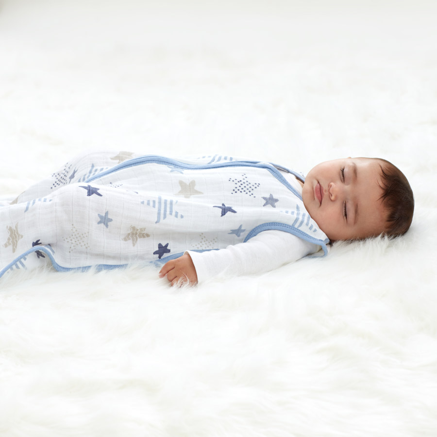 classic sleeping bag - There's no need to stress over loose blankets in the cot with our breathable classic sleeping bag. Impossible for little legs to kick off, the wearable blanket slips over your baby's pj's and zips open from the bottom, making stealth nighttime changes possible. Plus, our 100 % cotton muslin is pre-washed so it's super soft from the start and stays that way wash after wash.