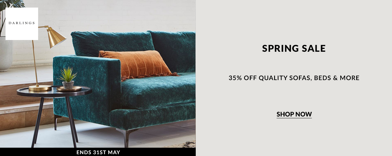 Darlings of Chelsea Spring Sale, get 35% off wuality sofas, beds and more. Offers ends on the 31st May.