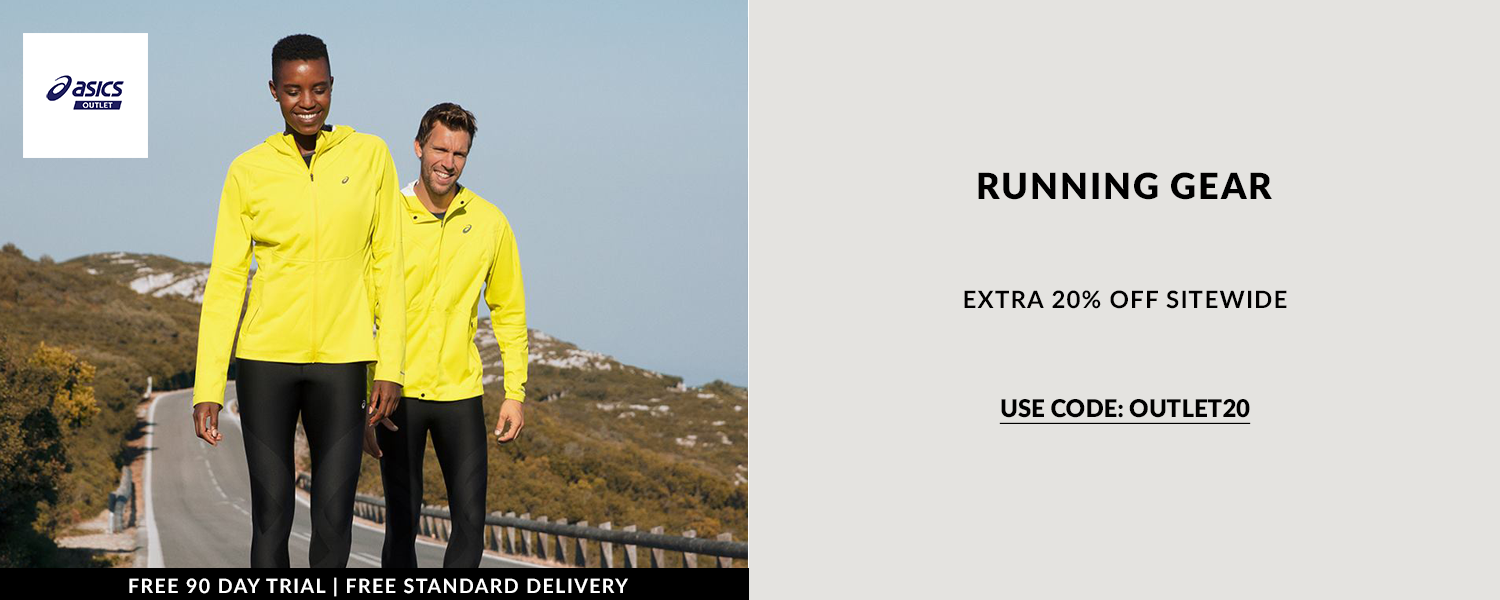 Running gear from Asics, now discounted extra 20% off sitewide by using code OUTLET20. Free standard delivery available with online orders.