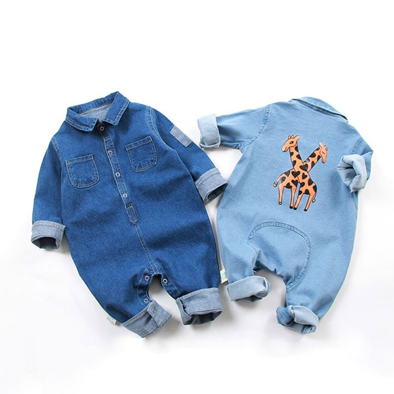 Casual Giraffe Print Denim Bodysuit - Comfortable and stylish unisex giraffe print denim bodysuits in a range of sizes, at great prices for the wonderful new addition to your family.