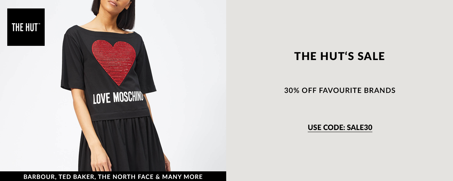Discount code to save on The Hut luxury fashion clothing lines and accessories and on big brands