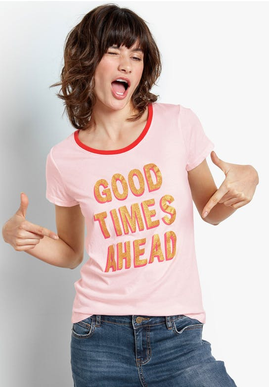 Good Times Tee now £25 - Crafted in organic cotton, embrace positive vibes this spring with our upbeat 'Good Times Ahead' metallic slogan T-shirt. Pair the shimmering tee with Boyfriend Jeans at the weekend. Now available in the Hush sale.