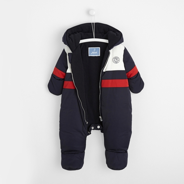 Sport chic blue and red baby boy pram suit