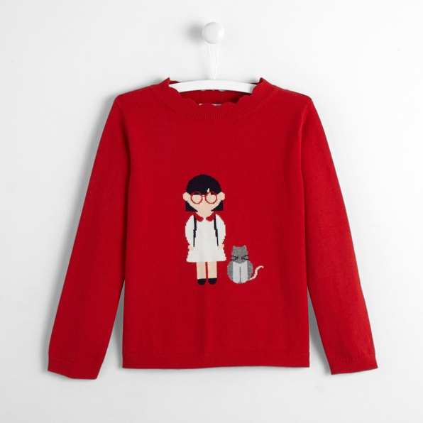 Adorable ferrari red girl jumper for autumn and winter from Jacadi