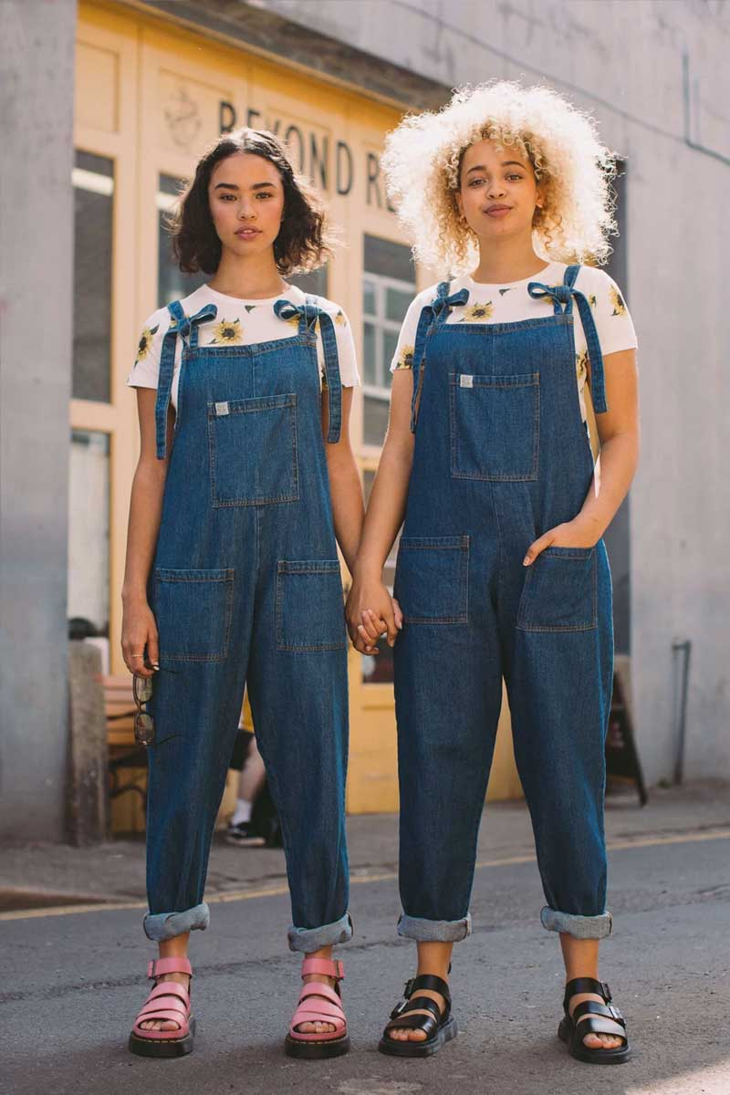 Organic Denim Dungarees - Meet the new Atlas denim dungarees from Lucy & Yak! Brining the best of the 90's back to modern times, the loosef fit super soft denim made from organic cotton is to shop for. What more could you want? Oh Comfort of course, yeah that's covered too!