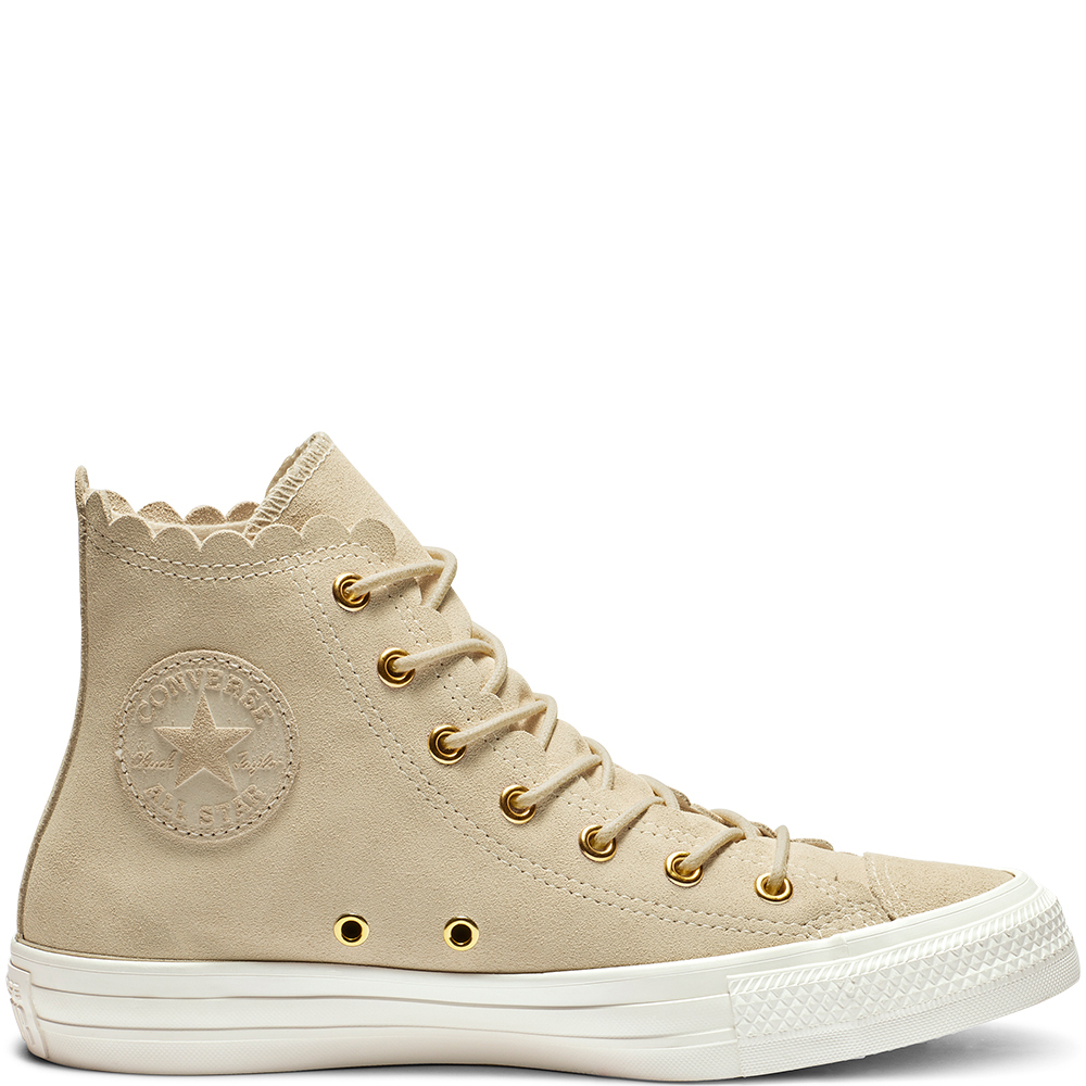 Chuck TaylorAll Star Frilly Thrills - Undisputed since 1917, the Converse Chuck Taylor All Star High Top sneaker delivers its iconic silhouette in elevated suede. The definitive sneaker flirts with feminine detail, including an eye-catching scalloped edge and tonal embossed star logo patch. Now discounted from £70 to £29.99.