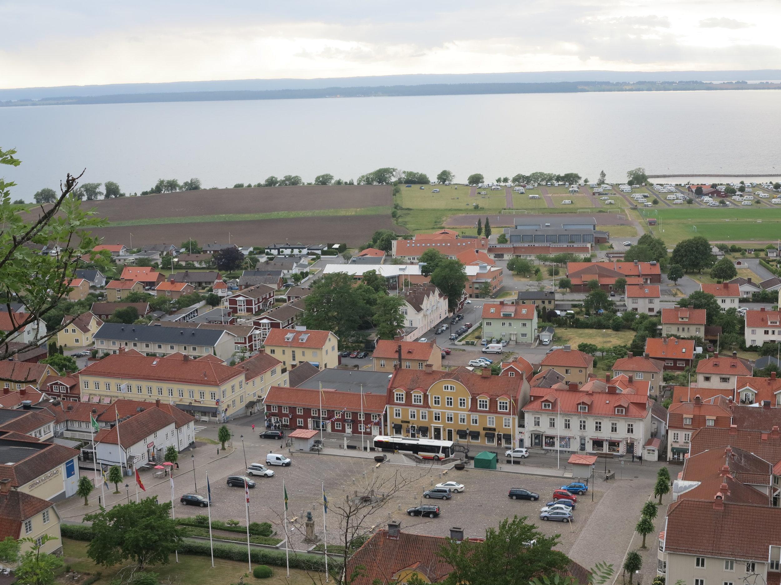 Blick auf Gränna, der Bonbon-Stadt am Vätternsee