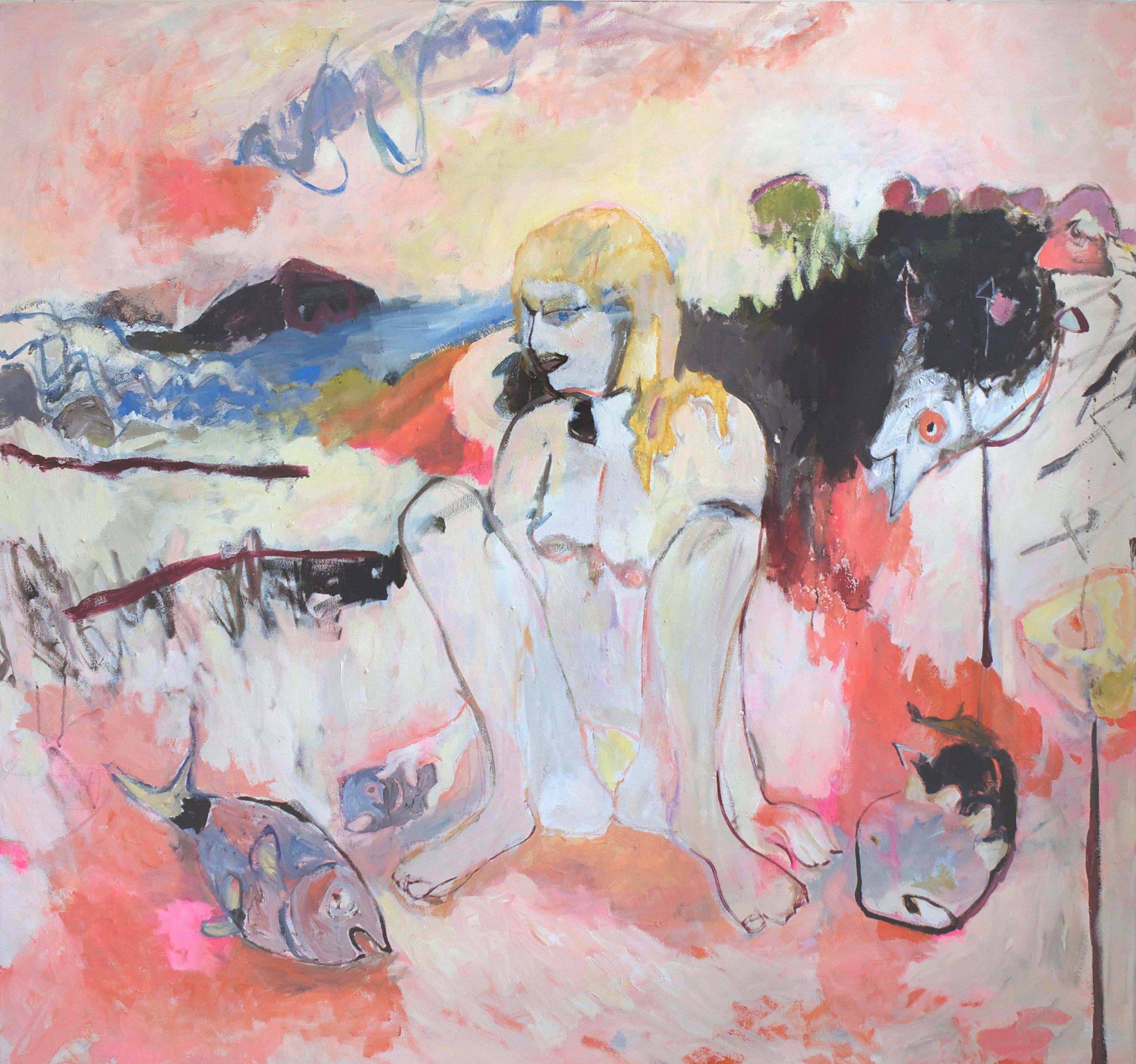 Beach oil on canvas, 130 × 140 cm, 2017