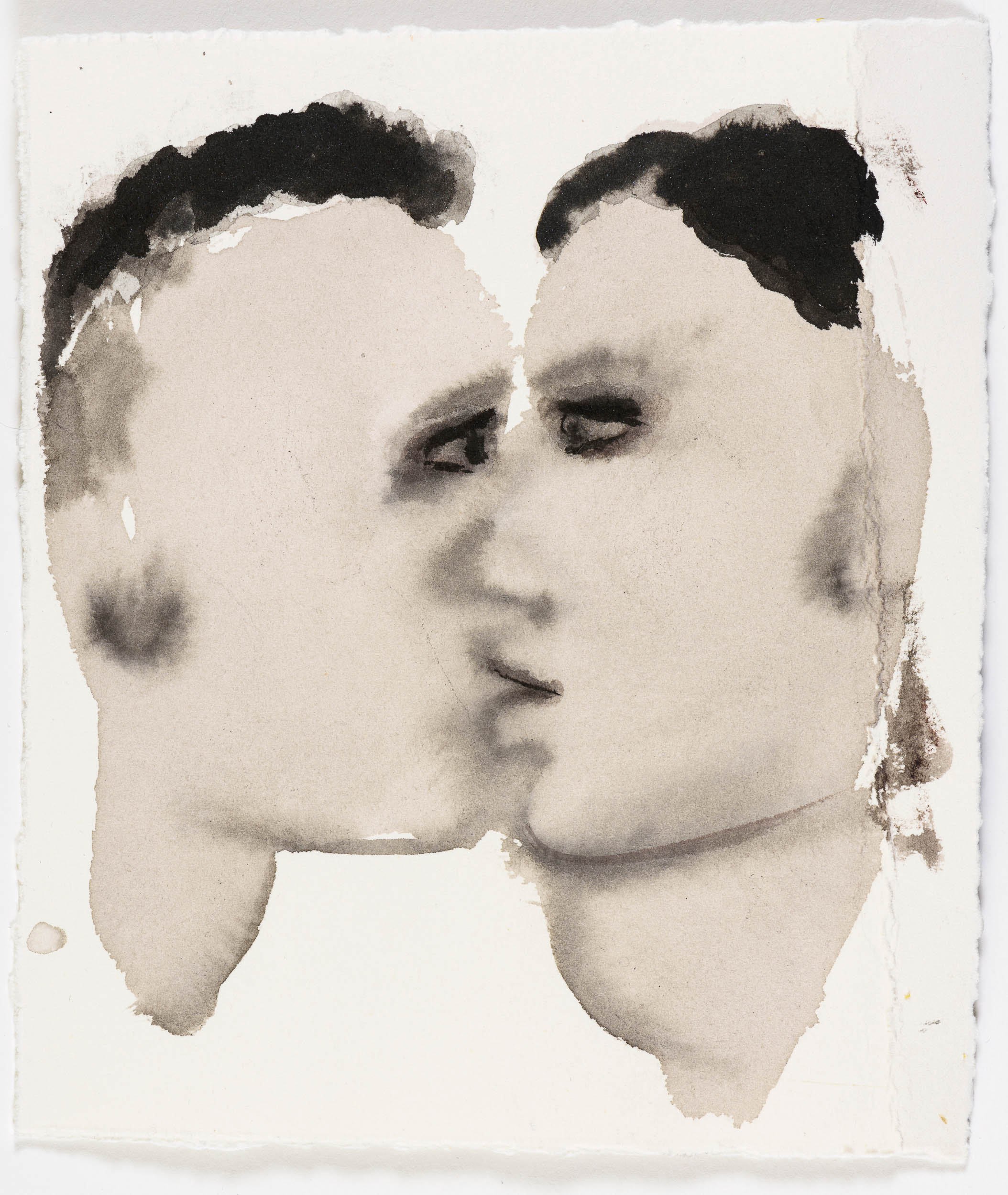 A LOVE STORY  Marlene Dumas,  A Lovestory , 2015-16. Ink wash and metallic acrylic on paper. 21.5 x 17.5 cm. Courtesy of the artist and David Zwirner.  © Marlene Dumas. Photo © Peter Cox.