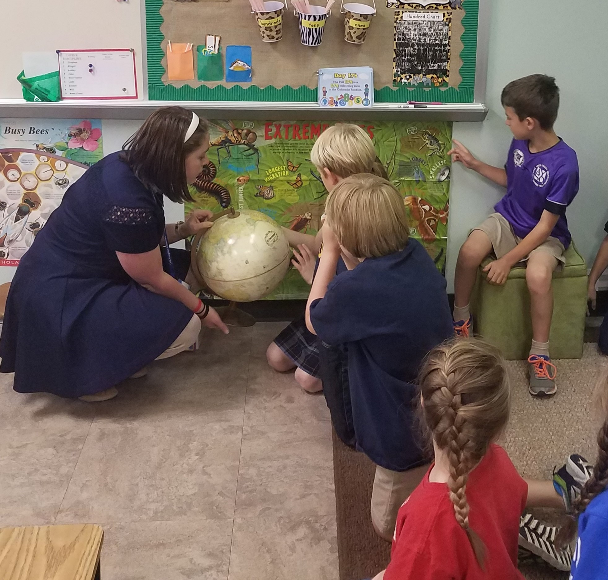 Savannah Barber encourages 2nd Graders at Eastwood Presbyterian School to learn about foreign and local missions.