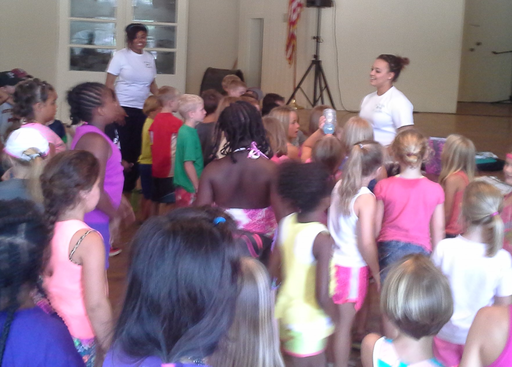 Mioshey Collins and Jade Marcum lead music at a Camp Grandview  5-Day Club®  in Wetumpka, Alabama.